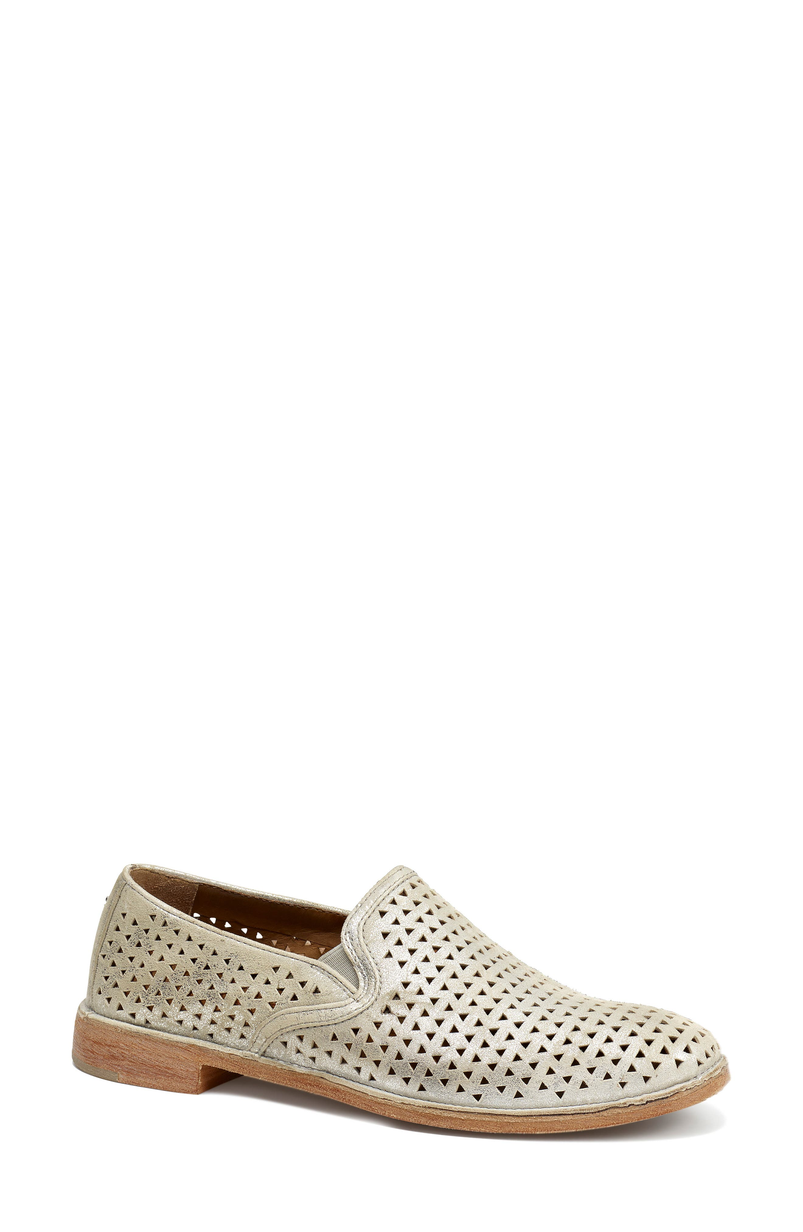 TRASK, Ali Perforated Loafer, Main thumbnail 1, color, IVORY METALLIC SUEDE