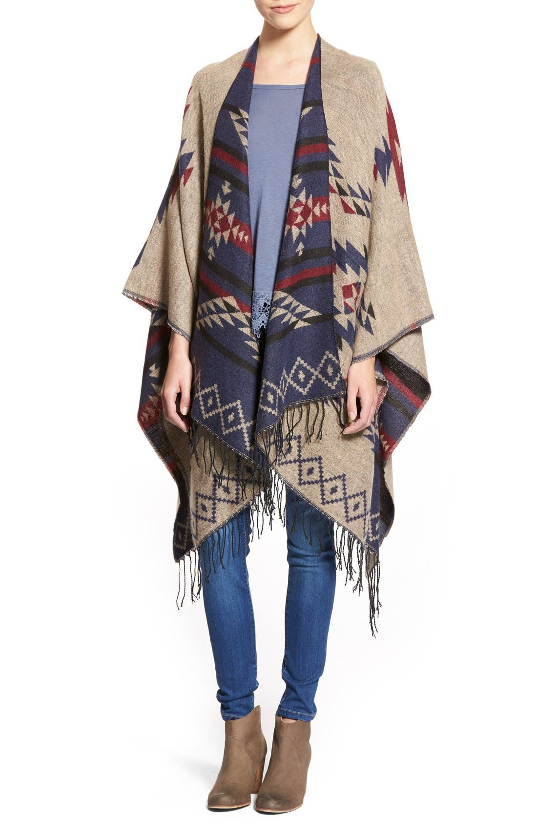 BP., Reversible Geometric Pattern Poncho, Alternate thumbnail 3, color, 900