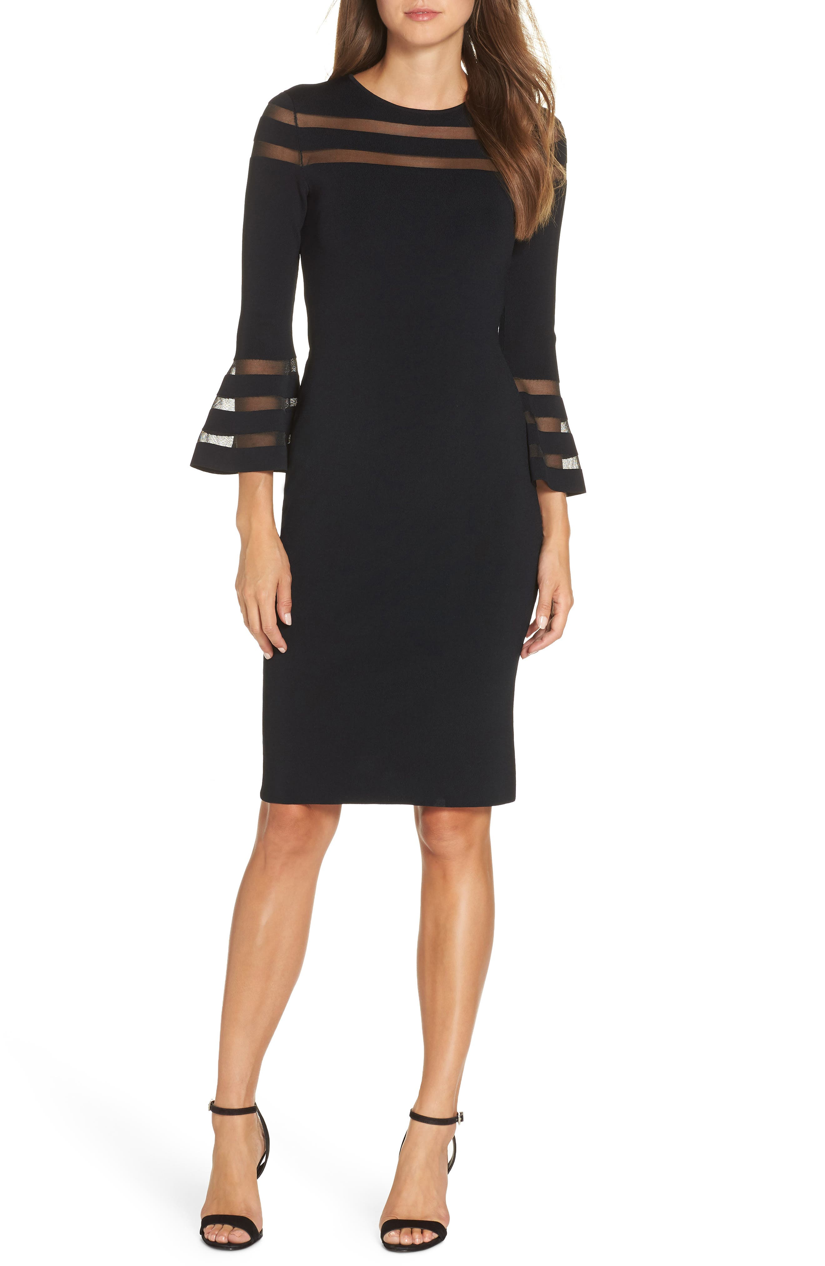 ELIZA J Mesh Stripe Sweater Dress, Main, color, BLACK