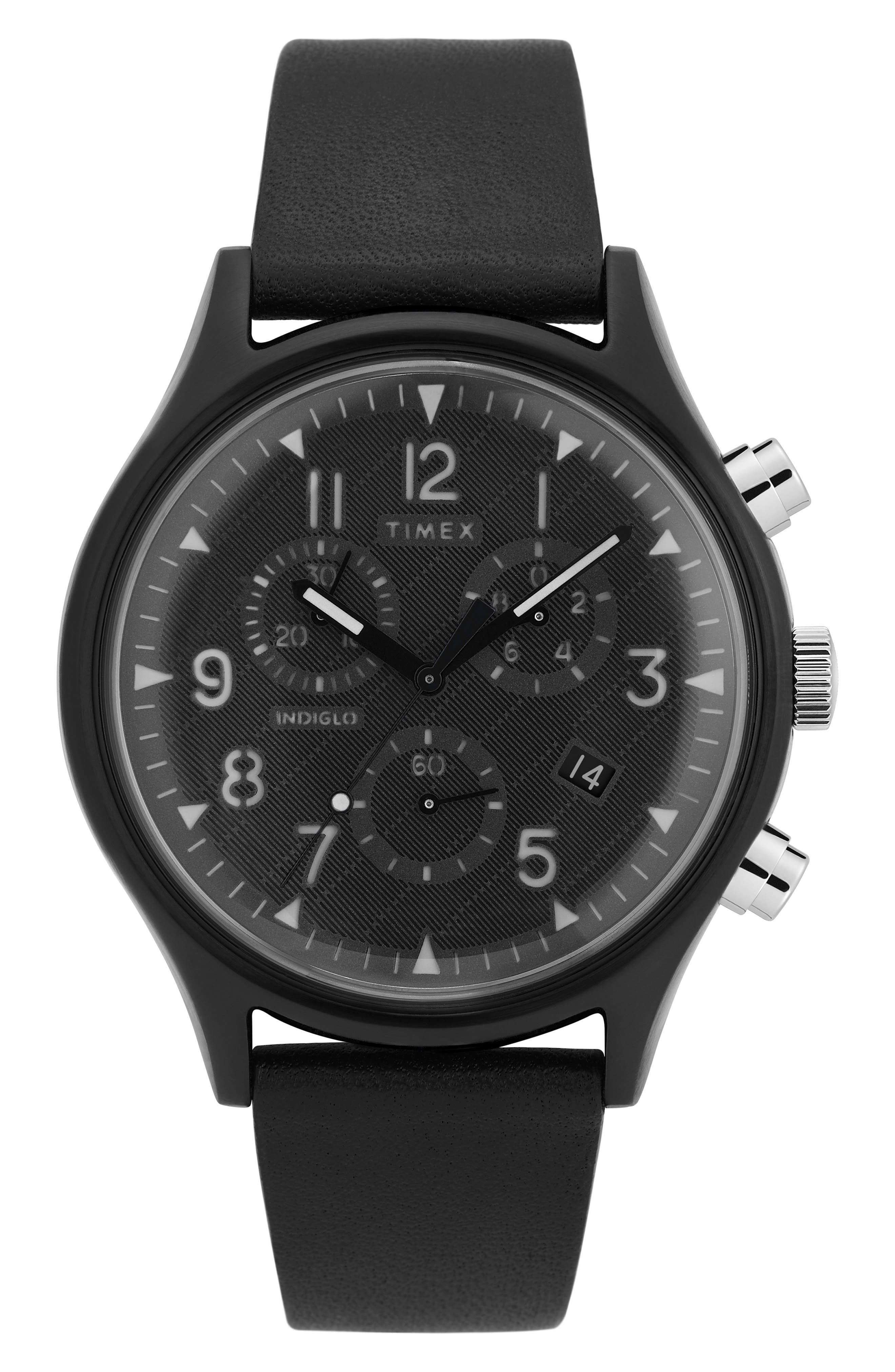 TIMEX<SUP>®</SUP>, MK1 Chronograph Leather Strap Watch, 42mm, Main thumbnail 1, color, BLACK/