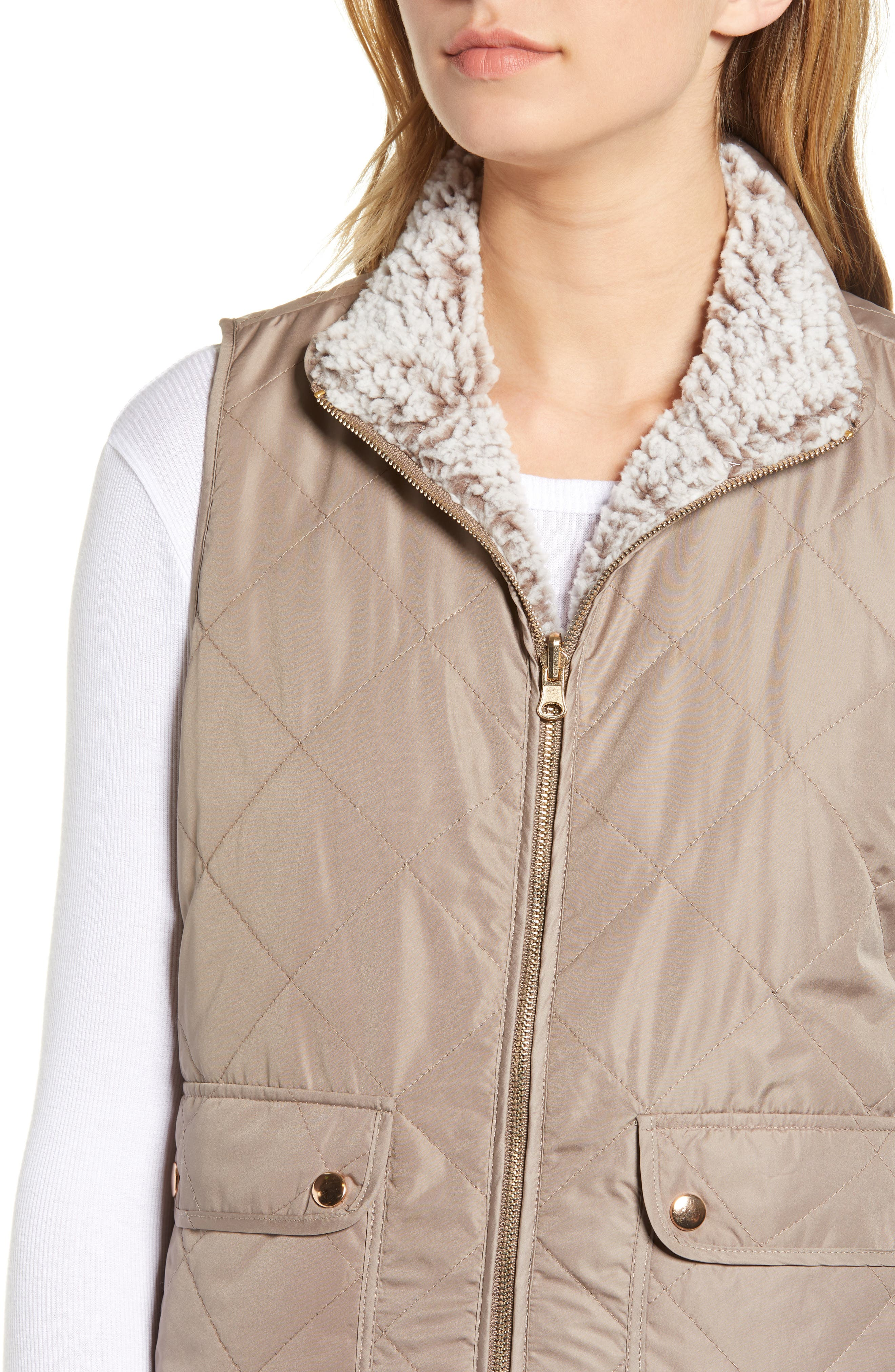 THREAD & SUPPLY, Reversible Fleece Lined Quilted Vest, Alternate thumbnail 6, color, MUSHROOM