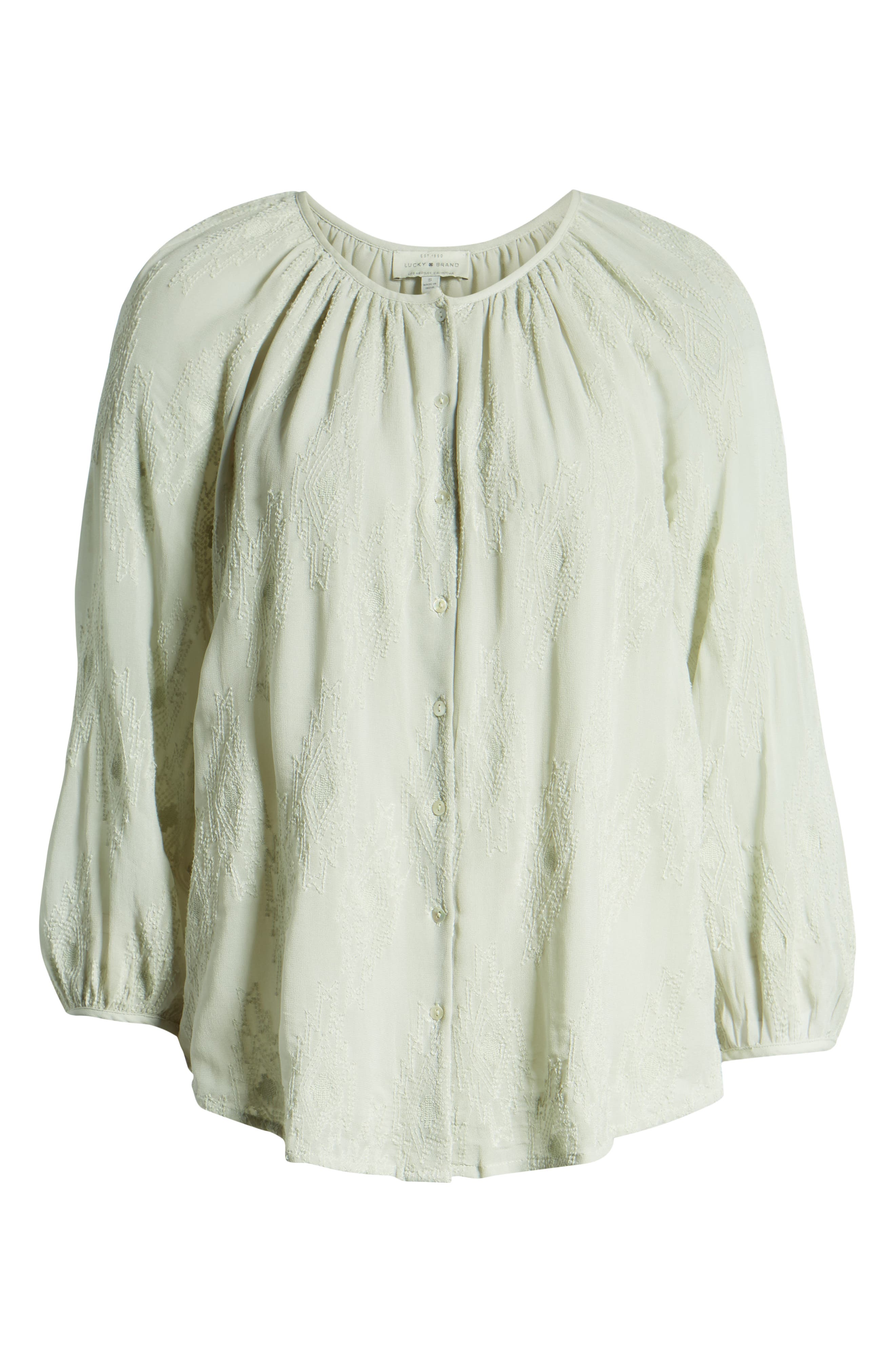 LUCKY BRAND, Geo Embroidered Top, Alternate thumbnail 6, color, PALE BLUE