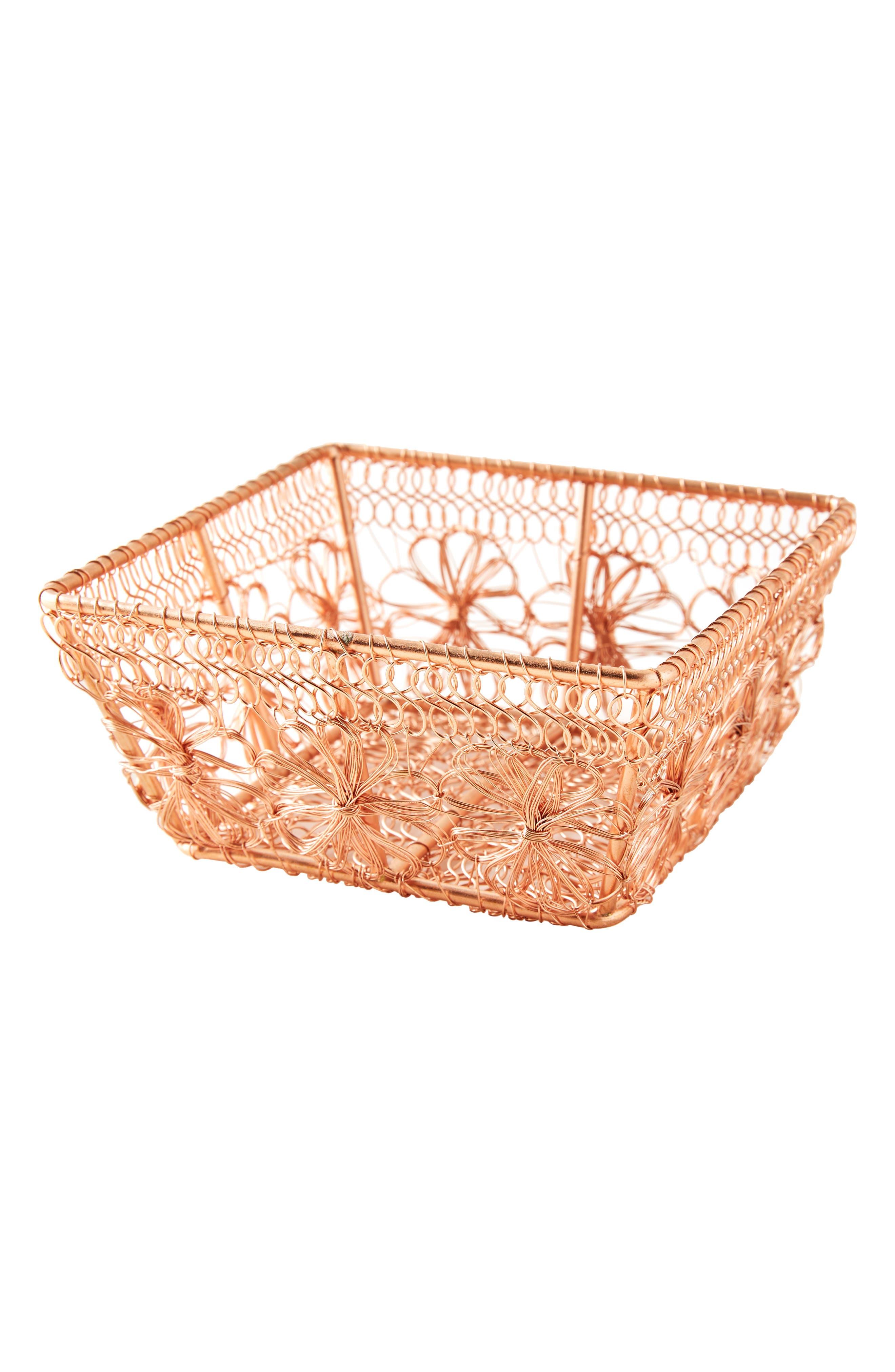 ANTHROPOLOGIE, Copper Floral Berry Basket, Alternate thumbnail 4, color, COPPER