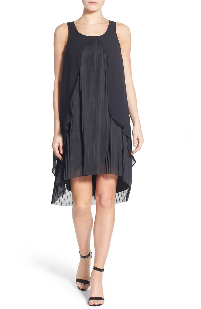 3cb040d96bd44 KENSIE Crepe Overlay Sleeveless High/Low Pleat Dress, Main, color, 001
