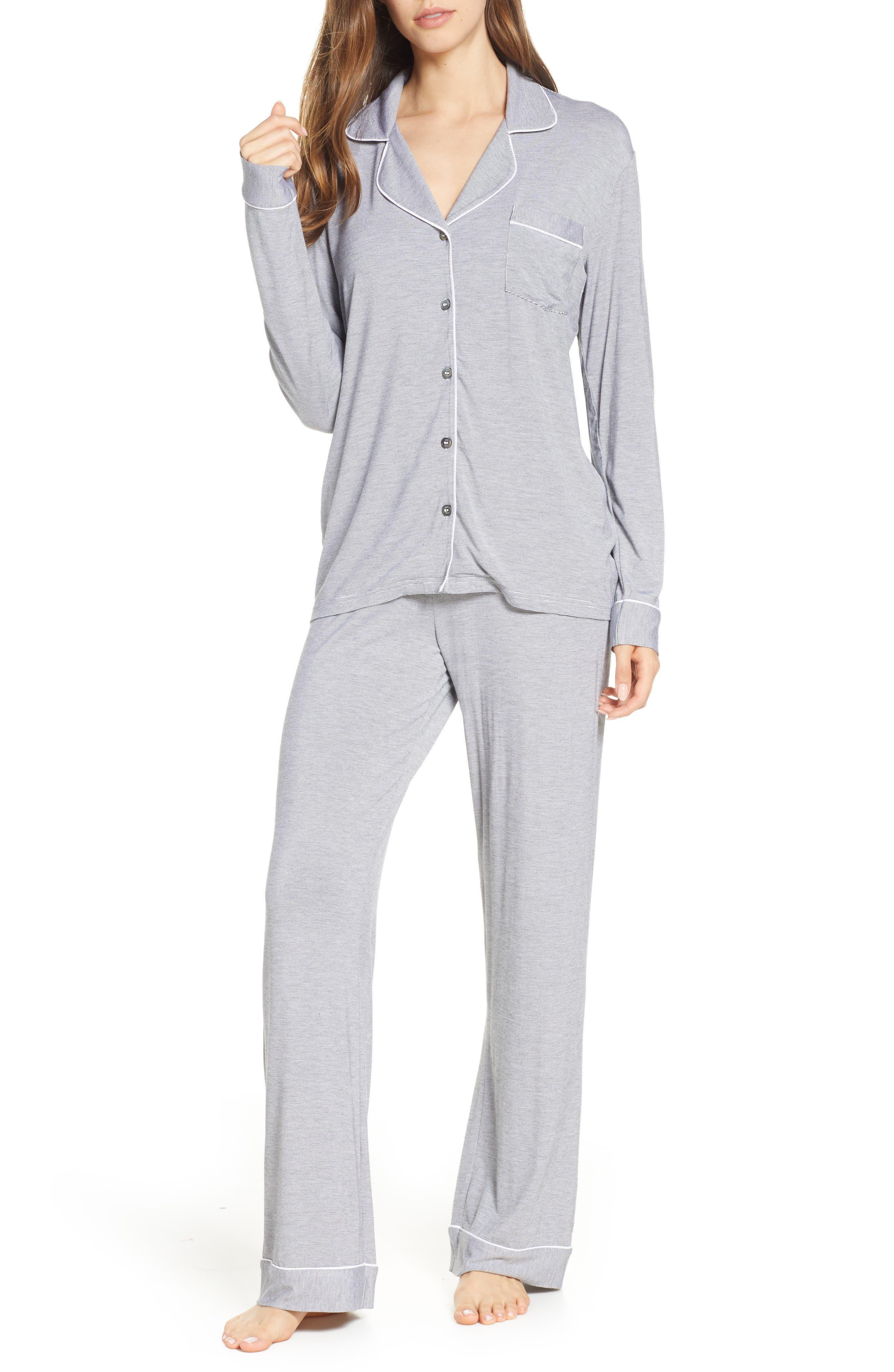 UGG<SUP>®</SUP>, Lenon Mini Stripe Jersey Pajamas, Main thumbnail 1, color, BLACK/ CREAM