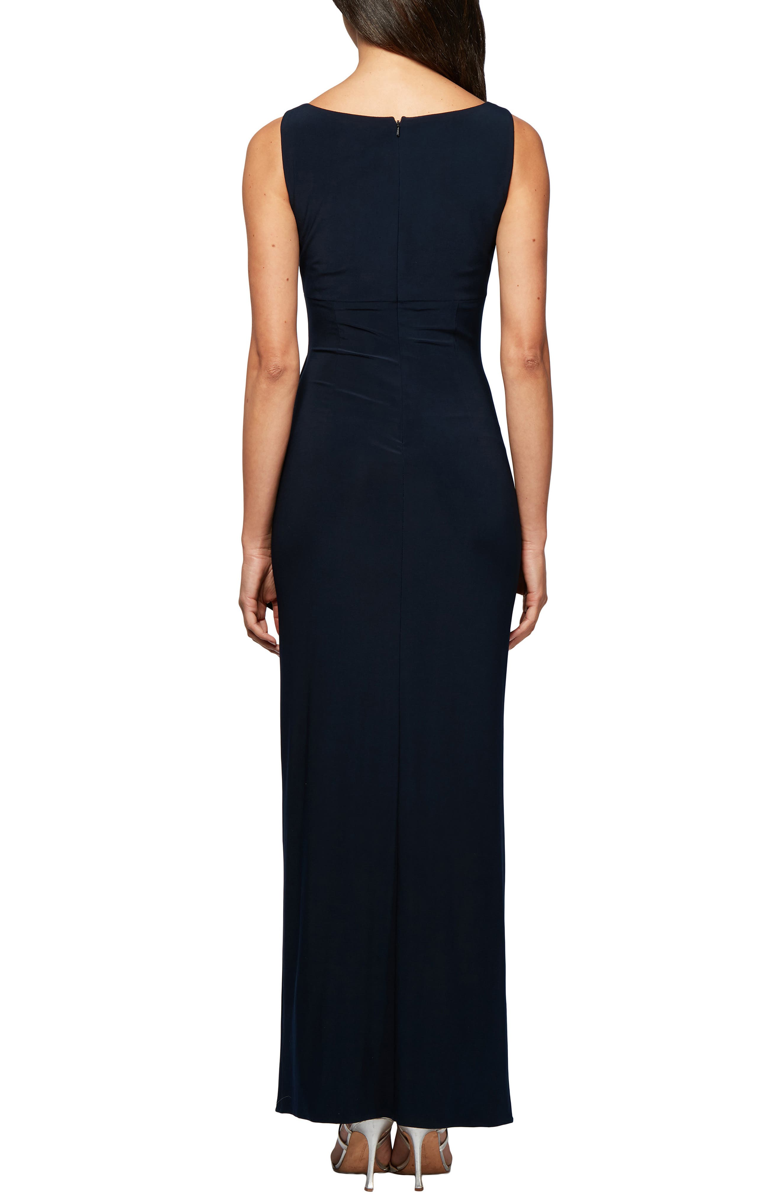 ALEX EVENINGS, Side Ruched Evening Dress with Bolero, Alternate thumbnail 4, color, 410