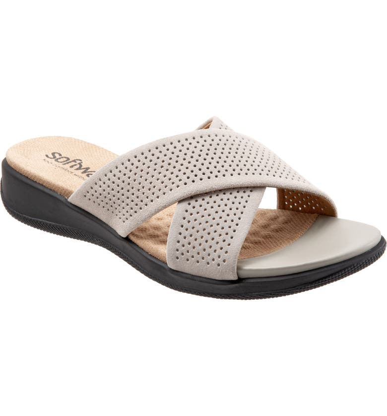 303cba388344 SoftWalk®  Tillman  Leather Cross Strap Slide Sandal (Women)