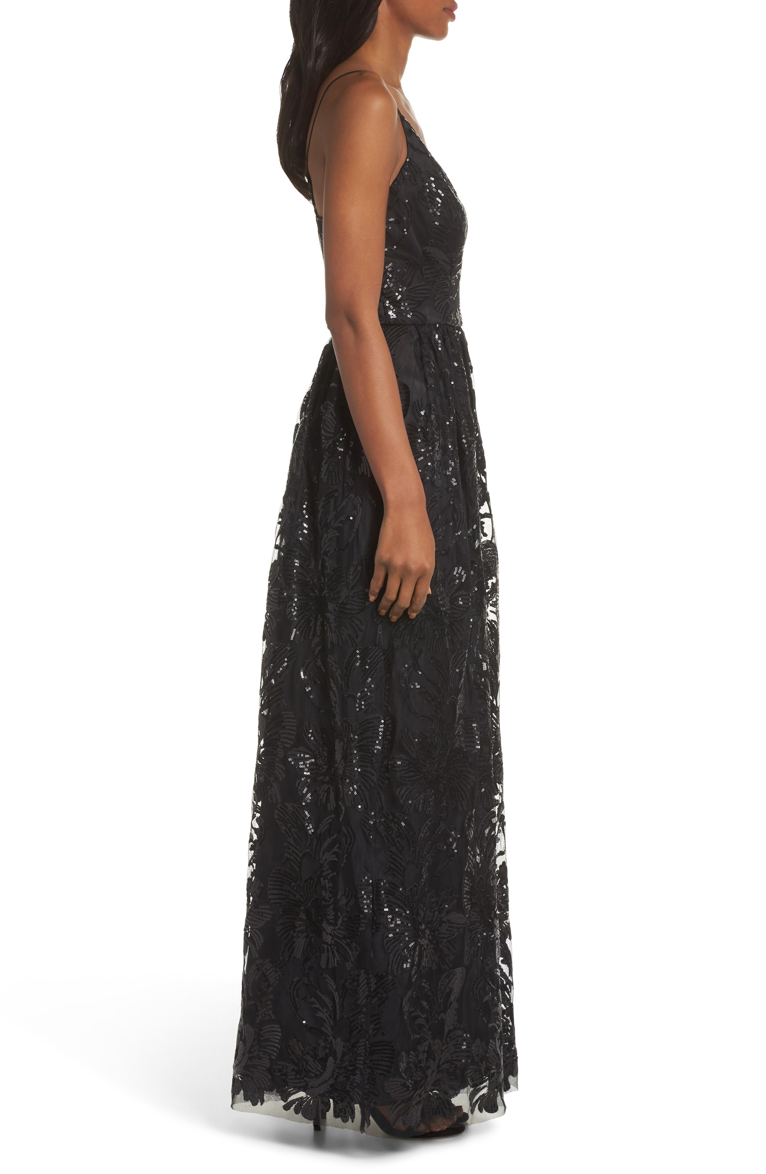 ELIZA J, Sequin Embroidered Mesh Evening Dress, Alternate thumbnail 4, color, BLACK