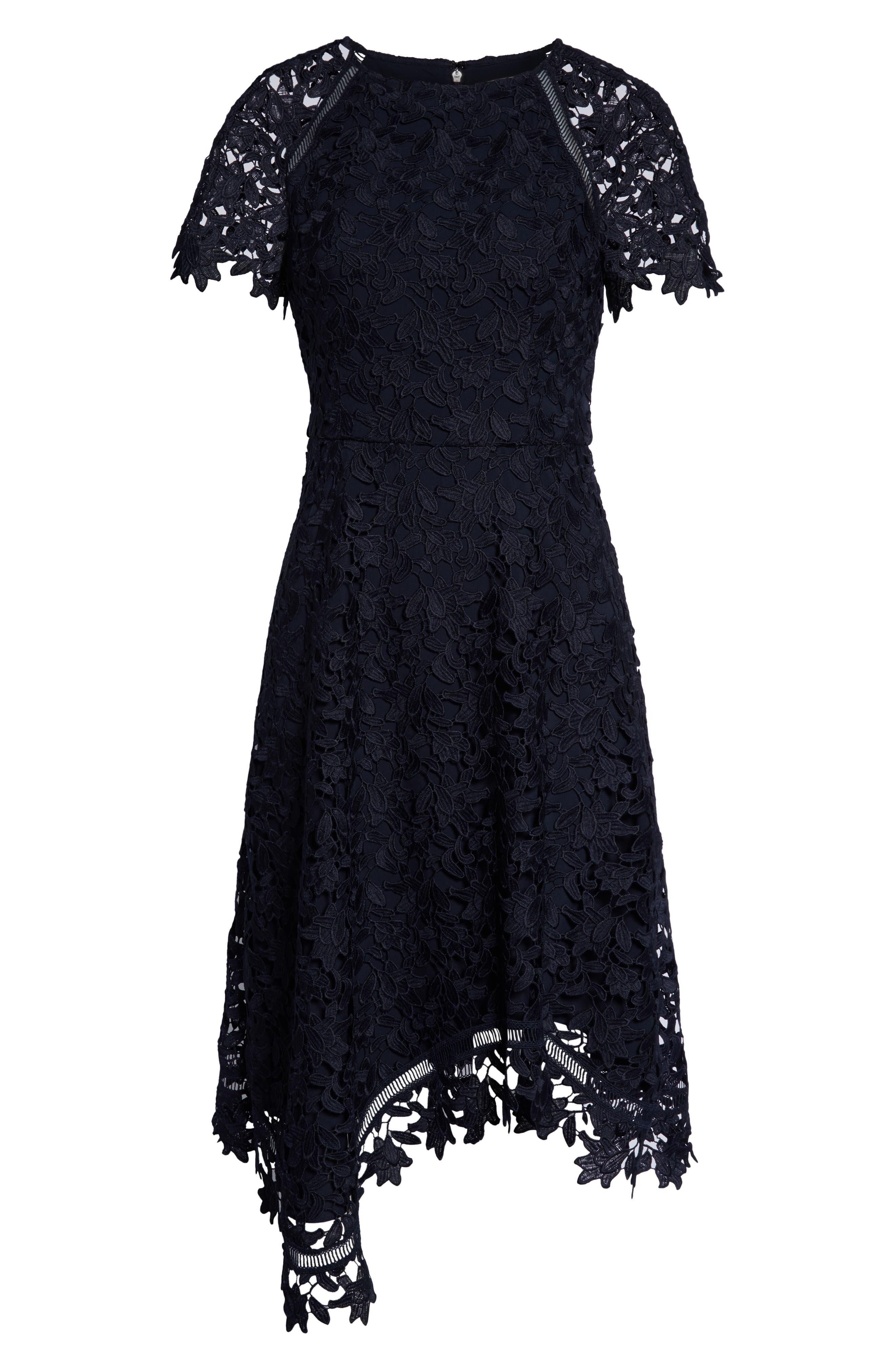 ELIZA J, Asymmetrical Lace Dress, Alternate thumbnail 7, color, NAVY