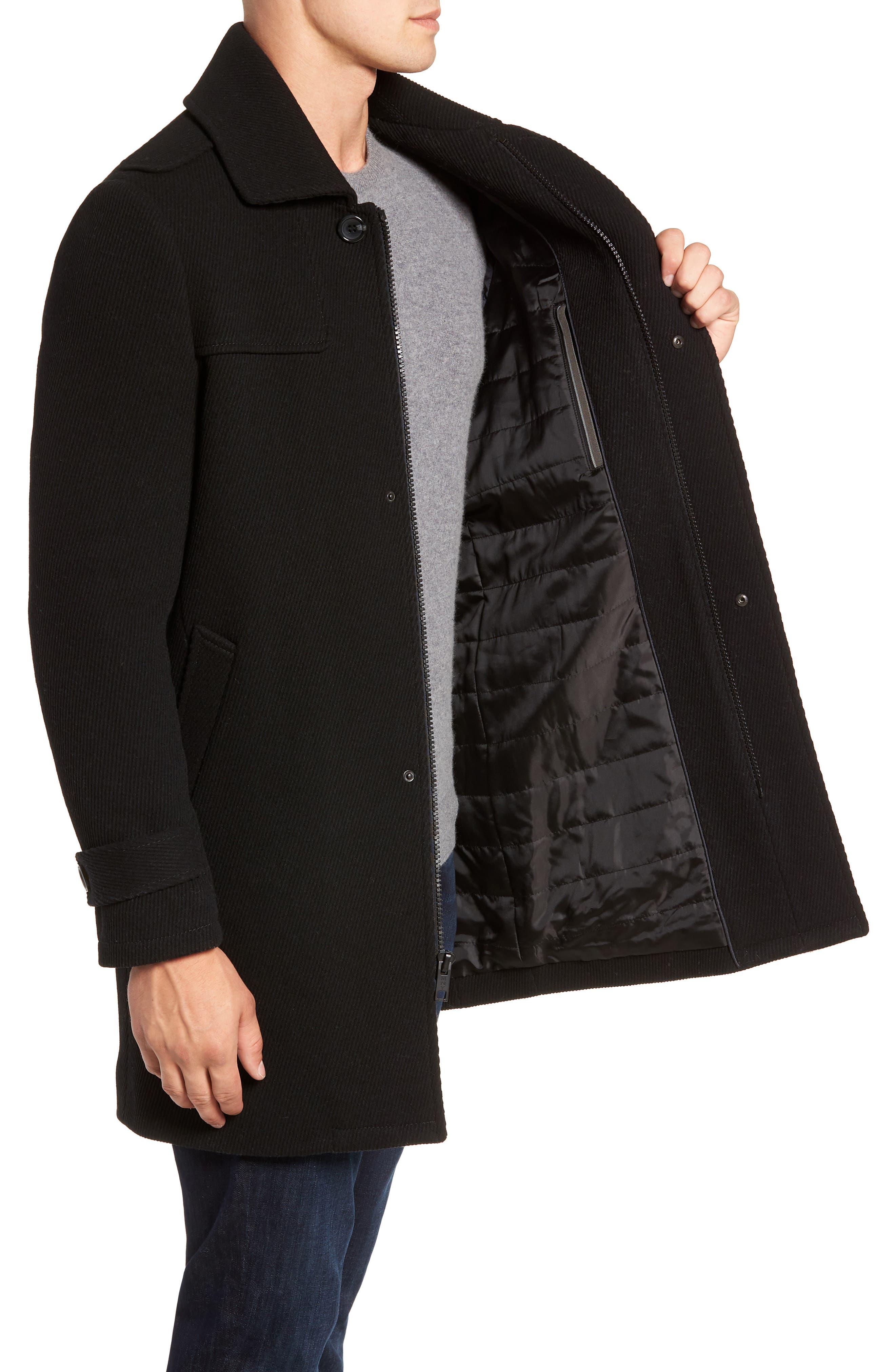 MARC NEW YORK, Edmund Wool Blend Twill Car Coat, Alternate thumbnail 3, color, BLACK