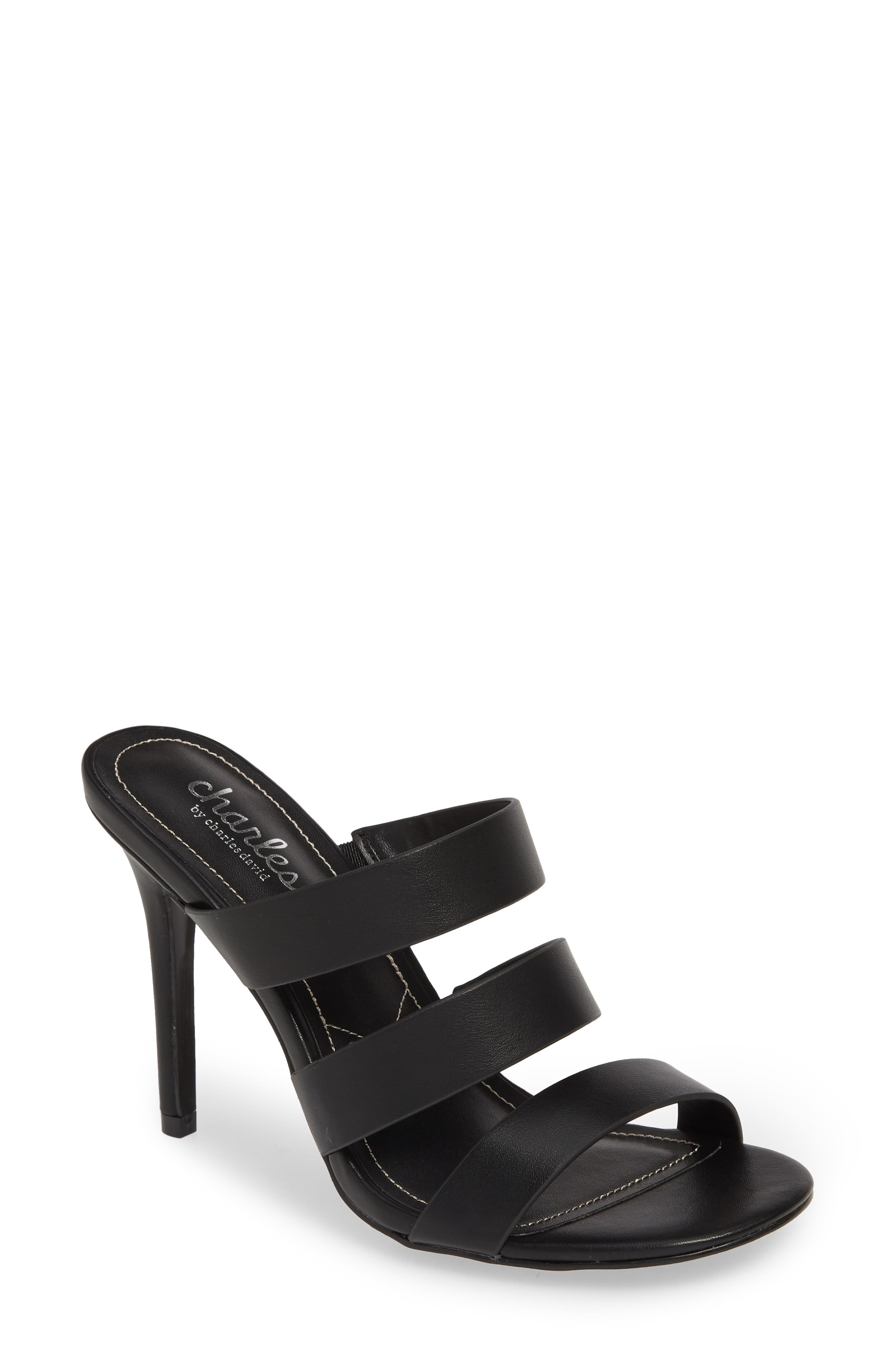 CHARLES BY CHARLES DAVID Rivalary Slide Sandal, Main, color, BLACK FAUX LEATHER