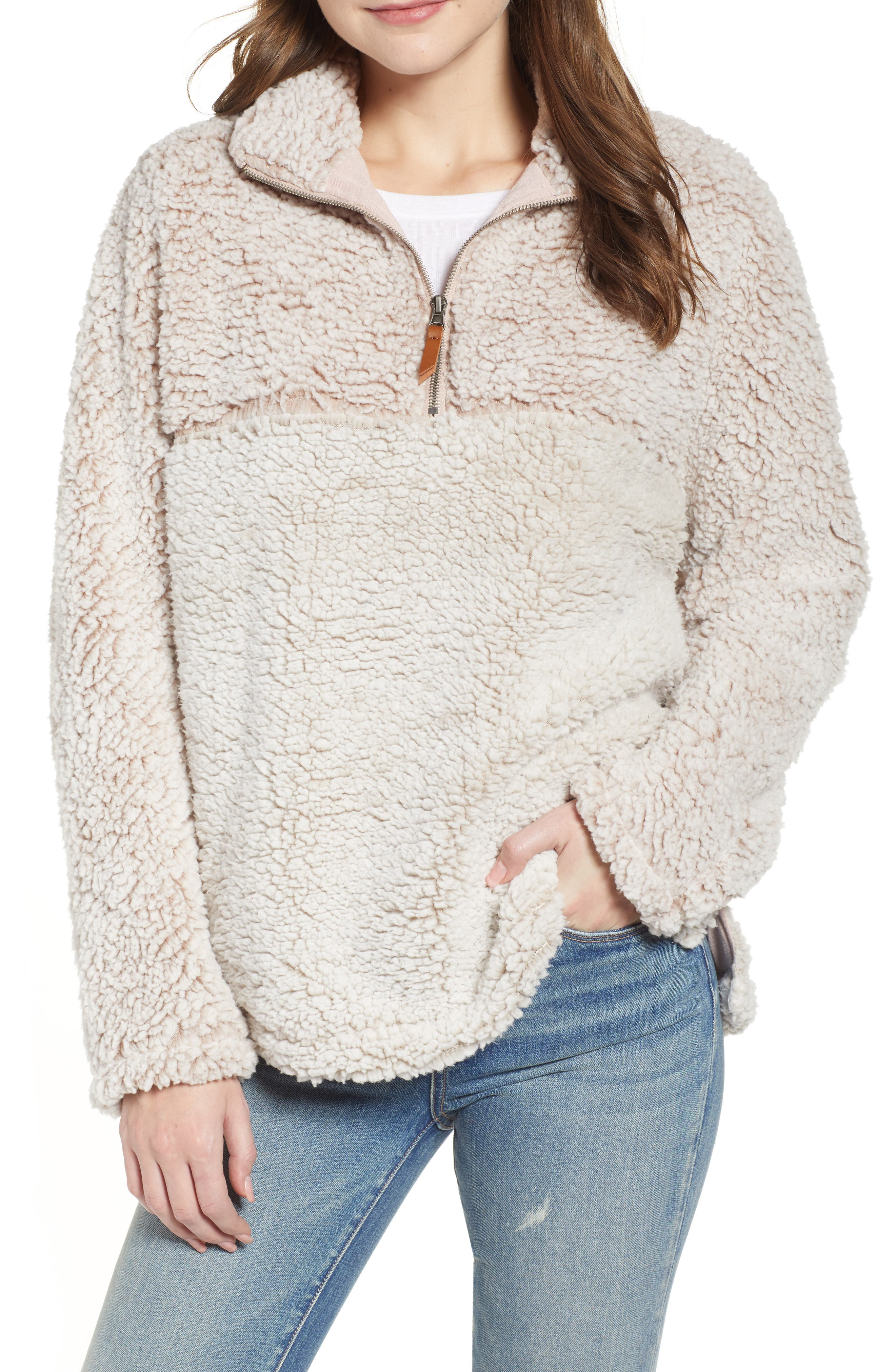 THREAD & SUPPLY, Colorblock Wubby Fleece Pullover, Main thumbnail 1, color, SMOKE ROSE IVORY