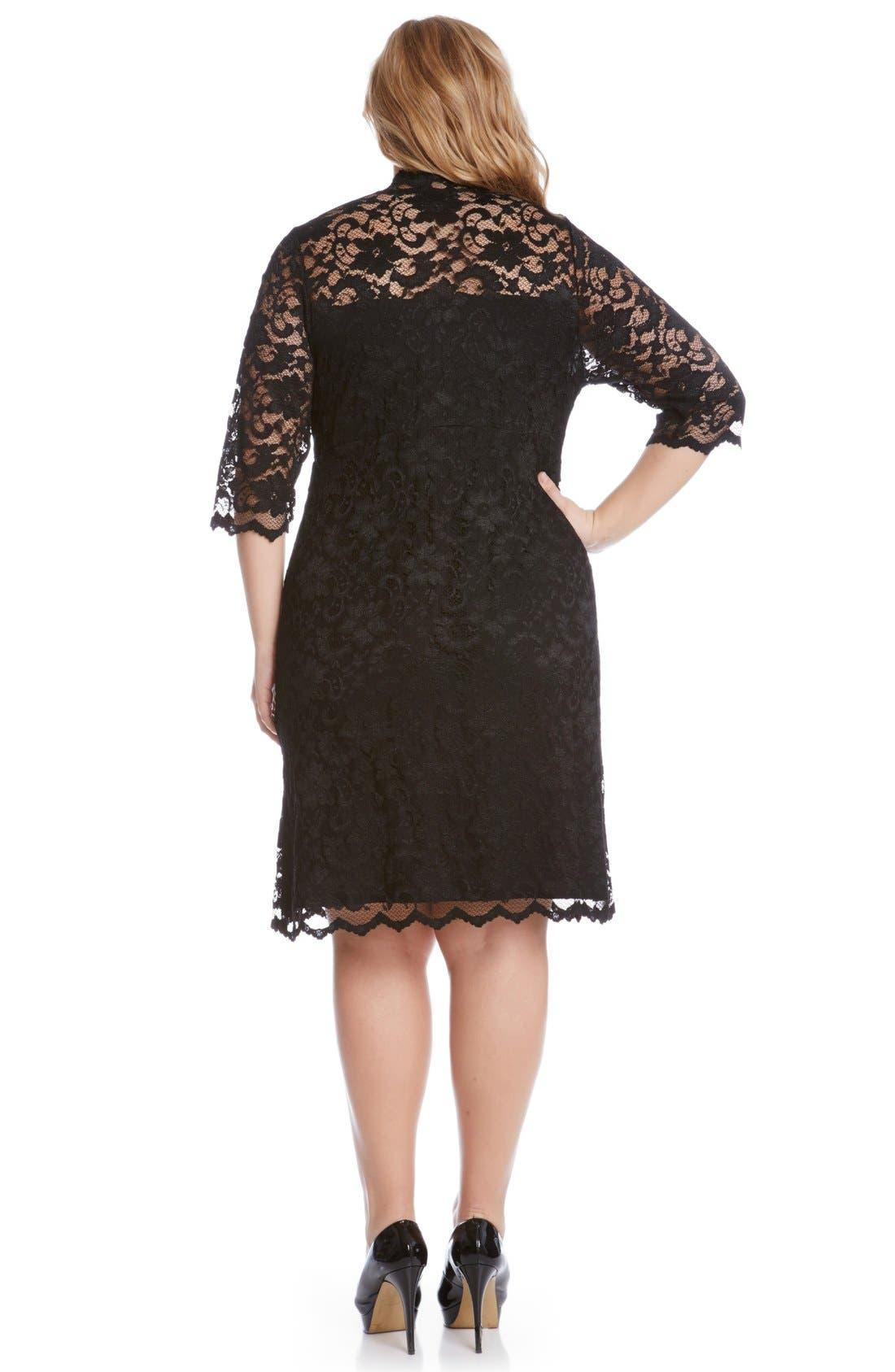 KAREN KANE, Scalloped Stretch Lace Dress, Alternate thumbnail 2, color, BLACK