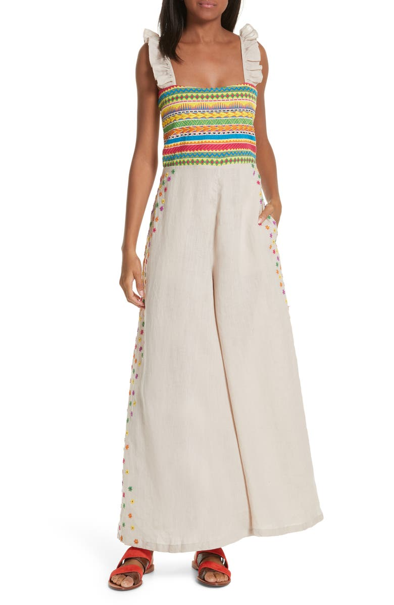 All Things Mochi Suits ELENA EMBROIDERED LINEN JUMPSUIT