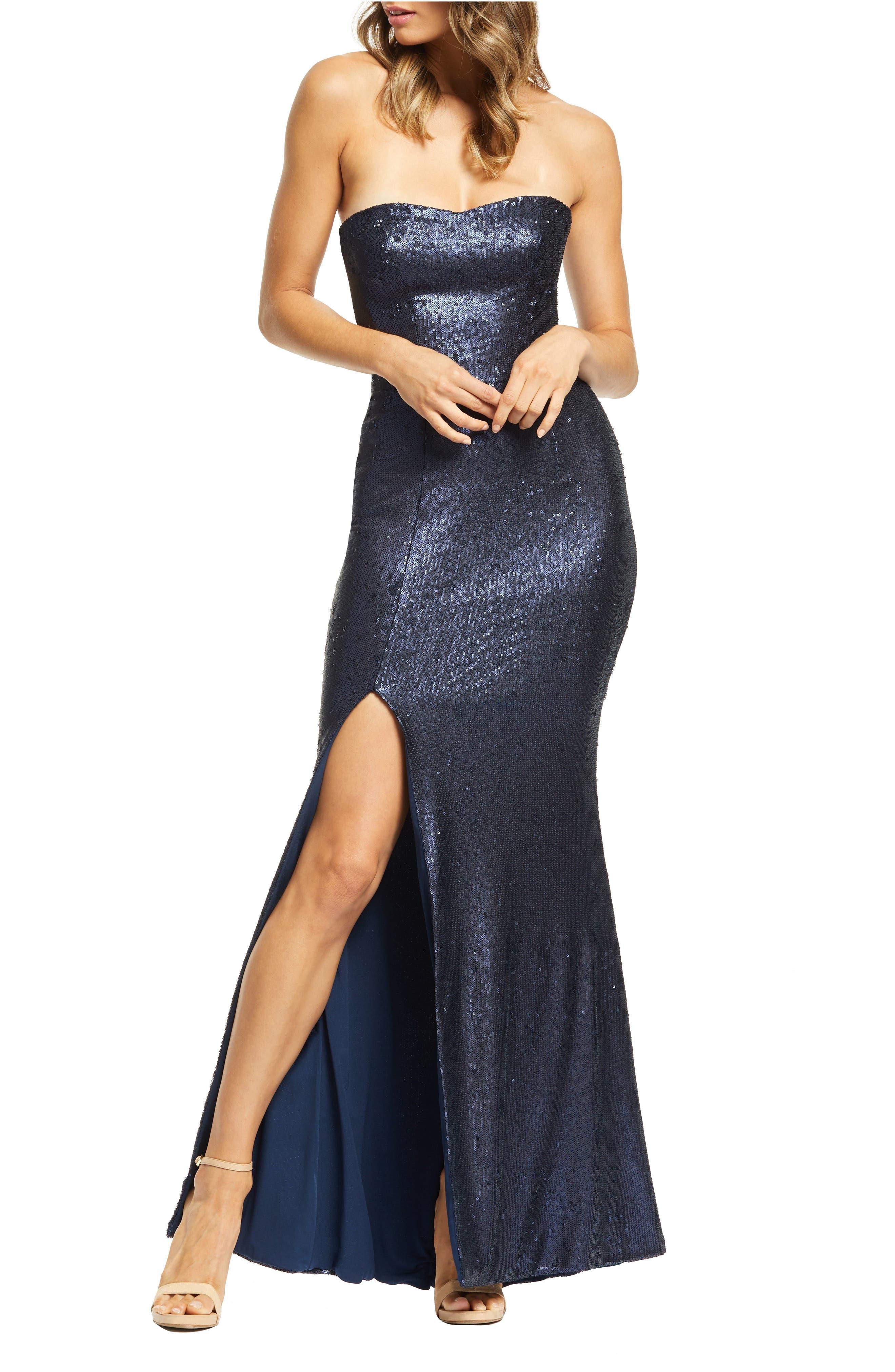 Dress The Population Ellen Strapless Sequin Evening Dress, Blue