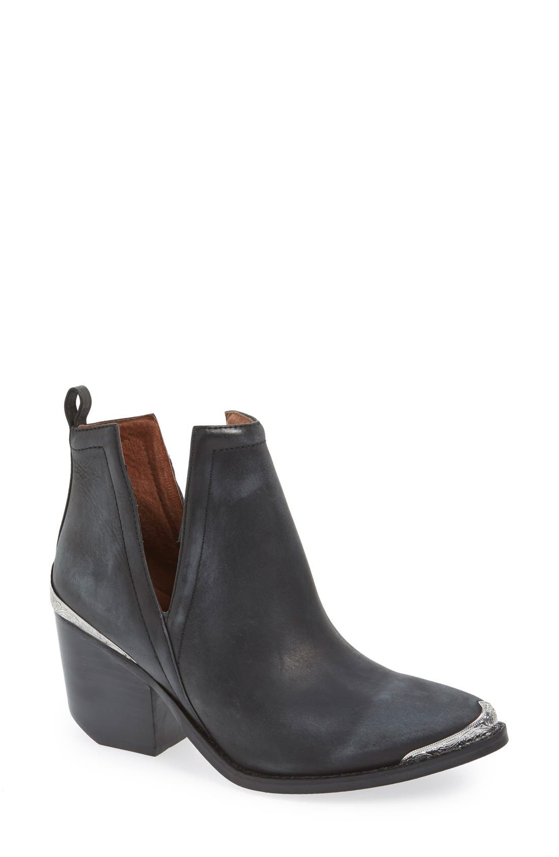 JEFFREY CAMPBELL, Cromwell Cutout Western Boot, Main thumbnail 1, color, BLACK DISTRESSED