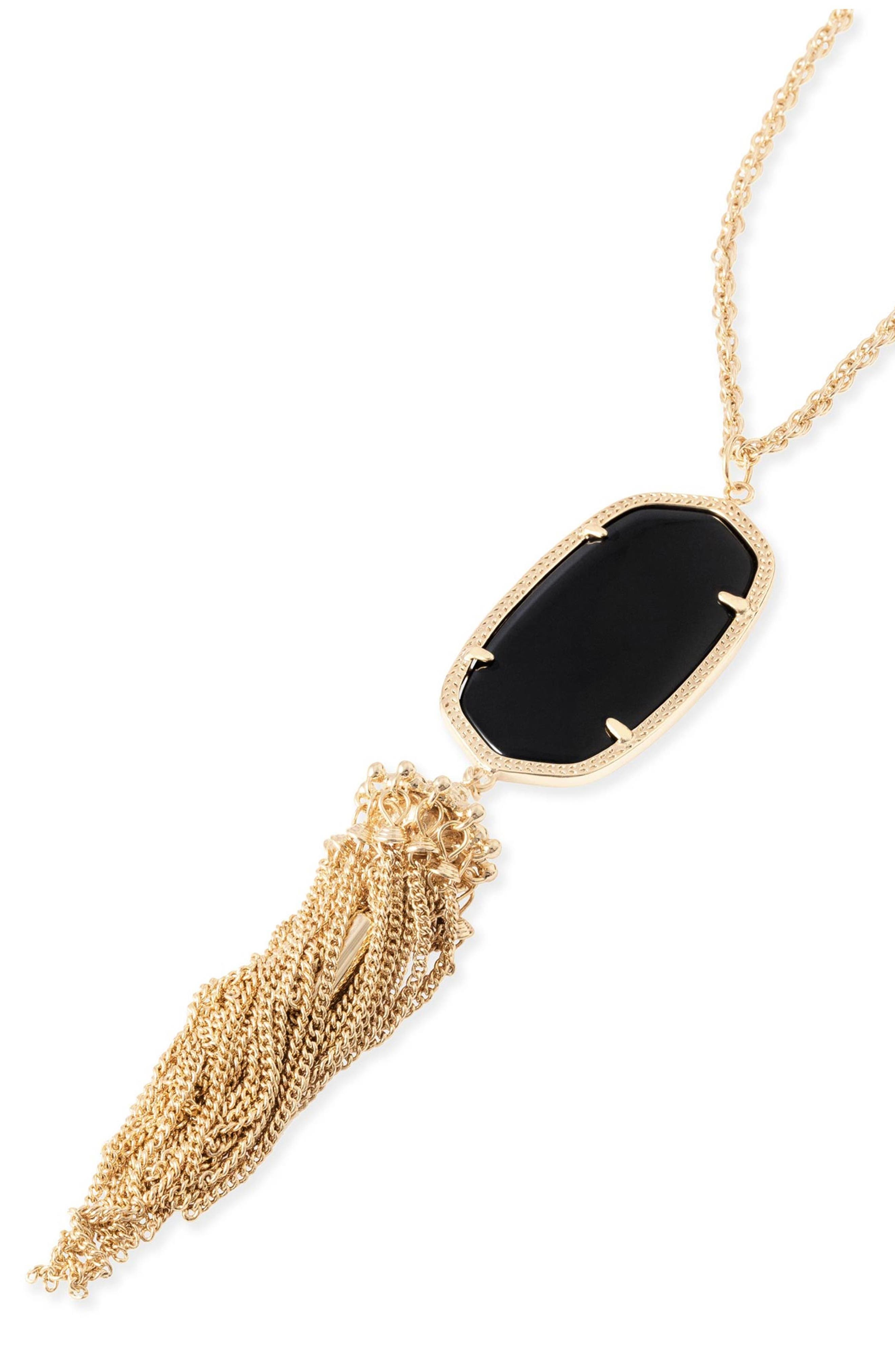 KENDRA SCOTT, Rayne Stone Tassel Pendant Necklace, Alternate thumbnail 3, color, 001