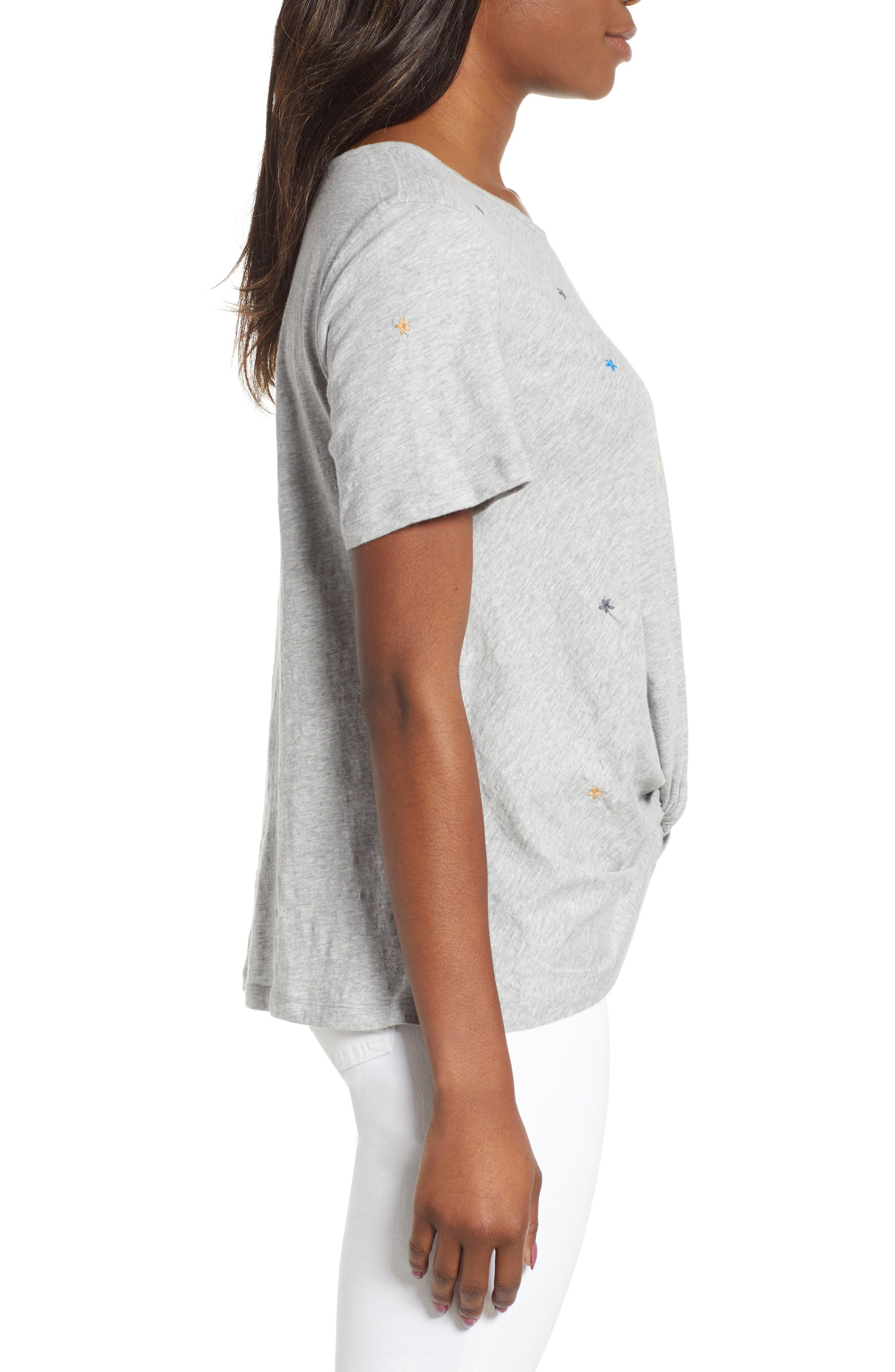 CASLON<SUP>®</SUP>, Embroidered Twist Front Top, Alternate thumbnail 3, color, GREY HEATHER