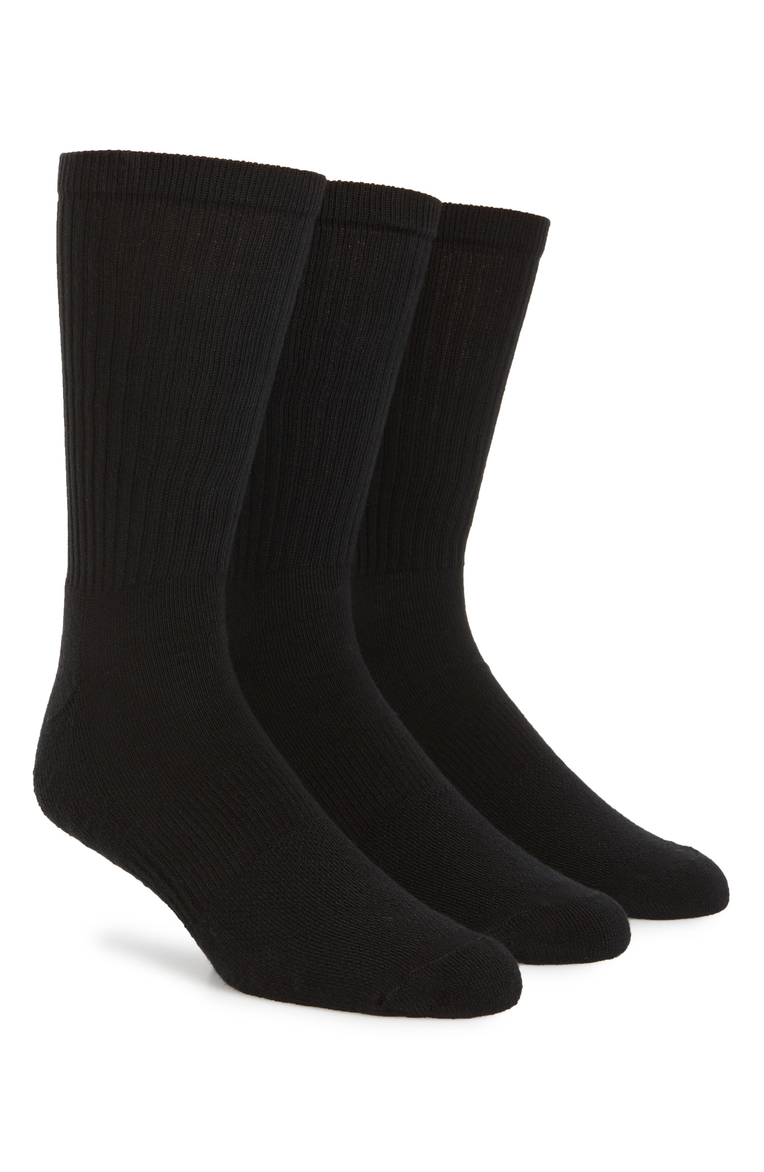 NORDSTROM MEN'S SHOP, 3-Pack Crew Cut Athletic Socks, Main thumbnail 1, color, BLACK