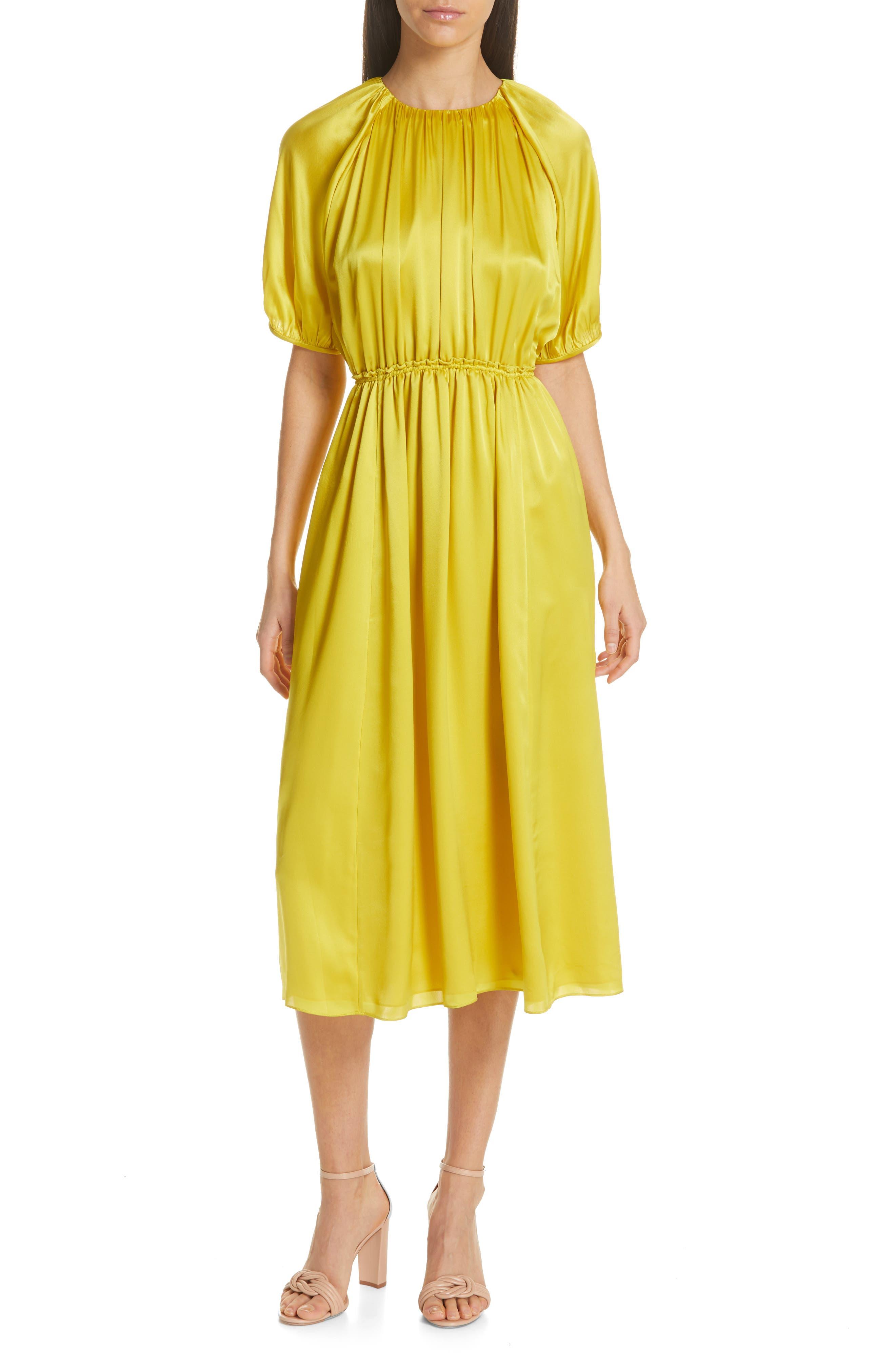 Kate Spade New York Silk Open Back Midi Dress, Yellow