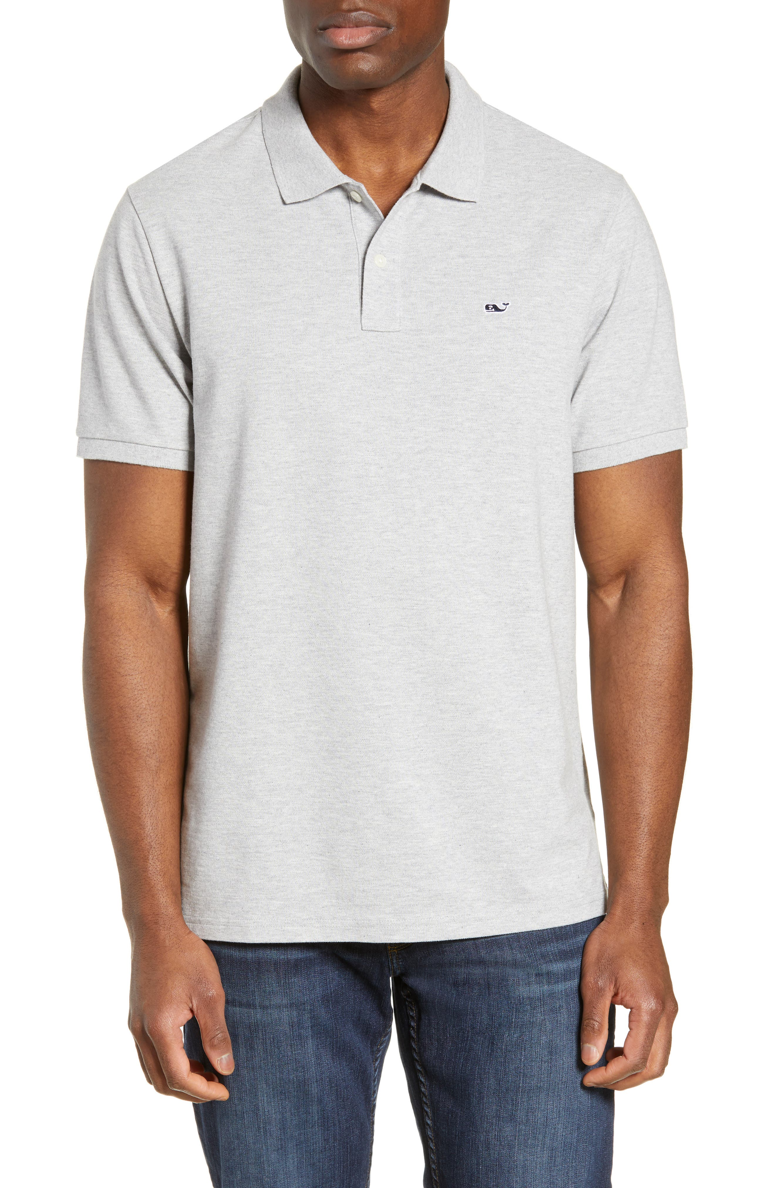 VINEYARD VINES, Regular Fit Stretch Piqué Polo, Main thumbnail 1, color, LIGHT GRAY HEATHER