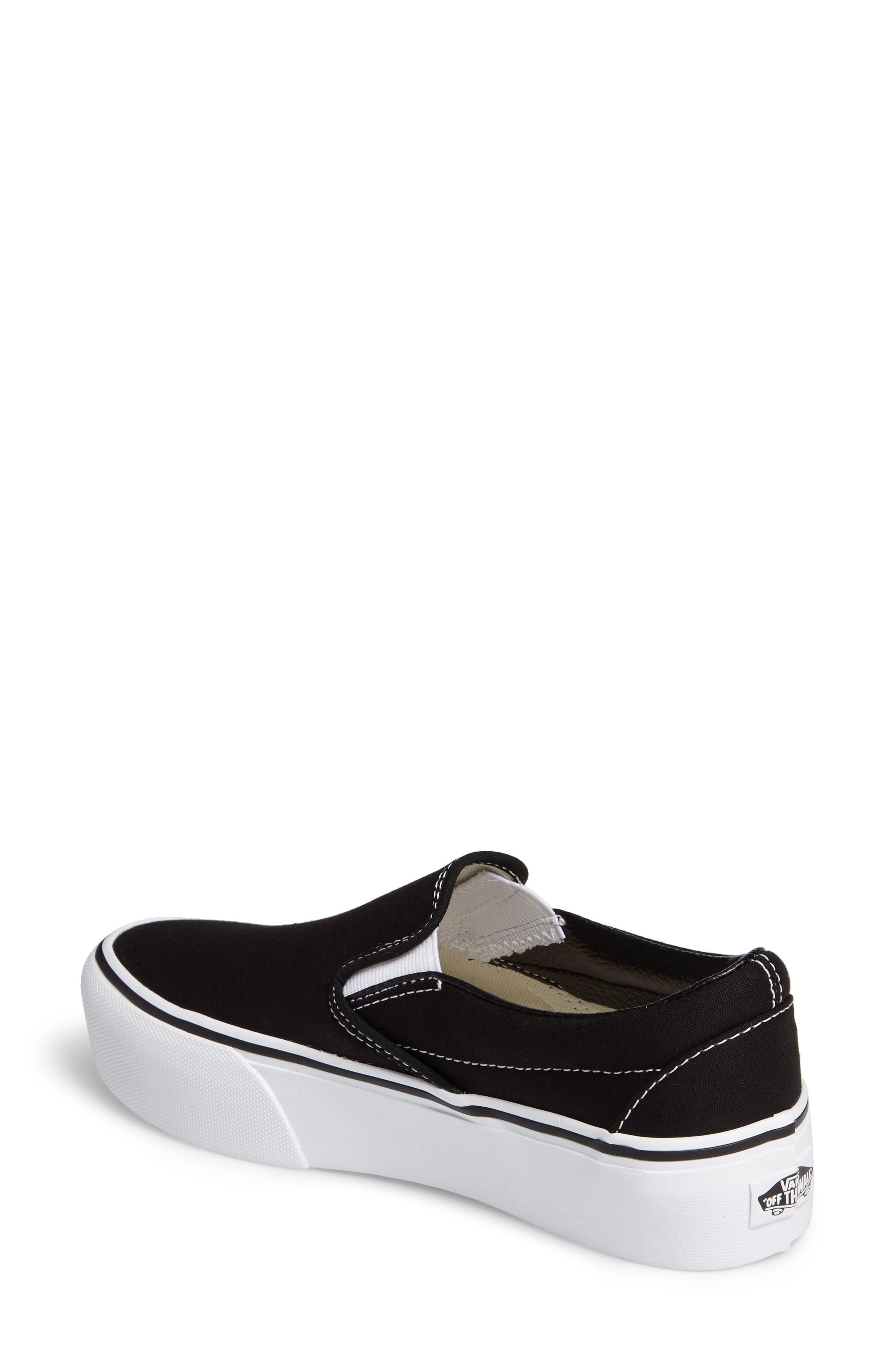 VANS, Platform Slip-On Sneaker, Alternate thumbnail 2, color, BLACK/ WHITE