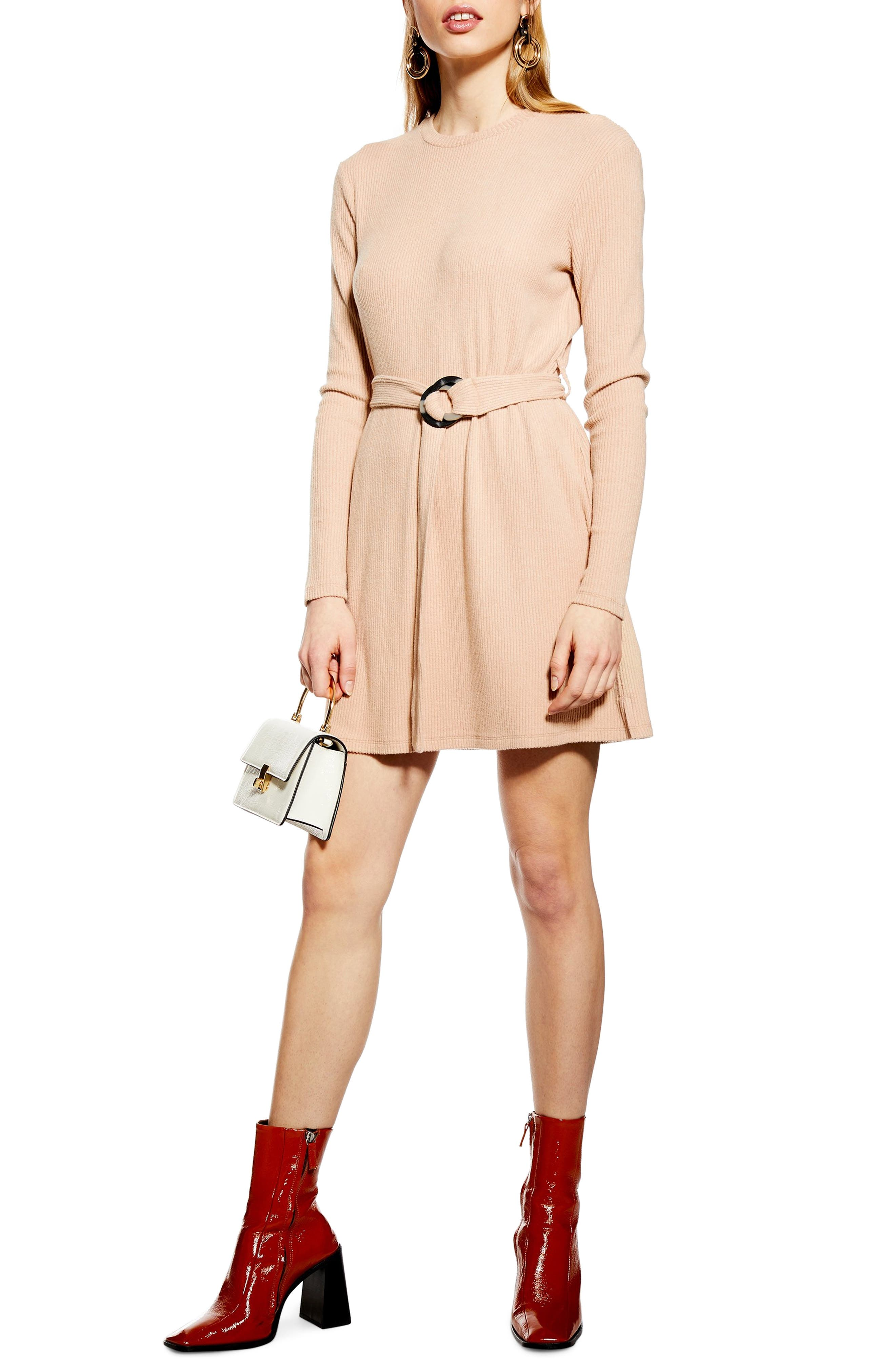 Petite Topshop Long Sleeve Belted Minidress, US (fits like 00P) - Beige