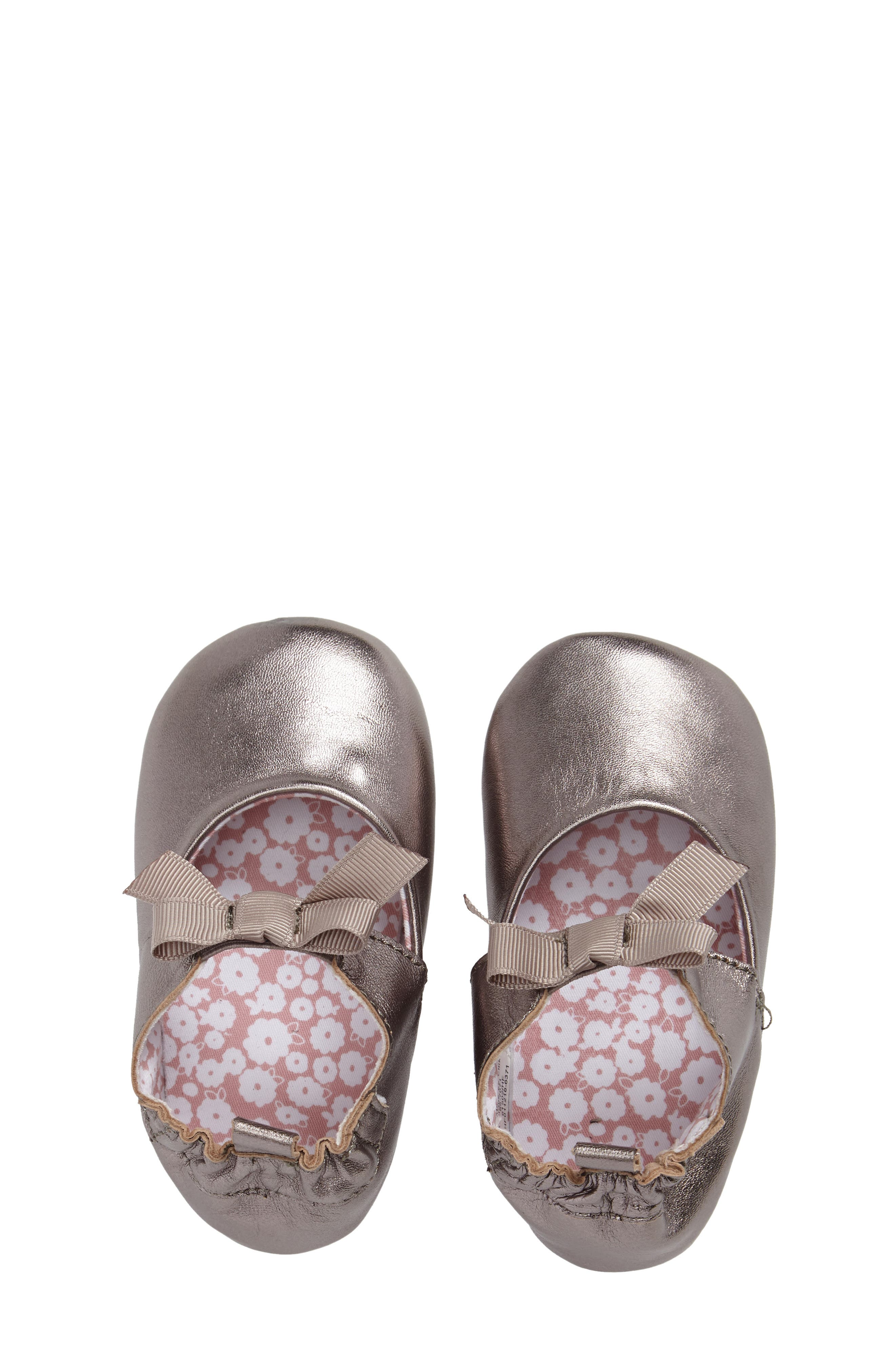 ROBEEZ<SUP>®</SUP>, Amelia Crib Shoes, Alternate thumbnail 5, color, GREY