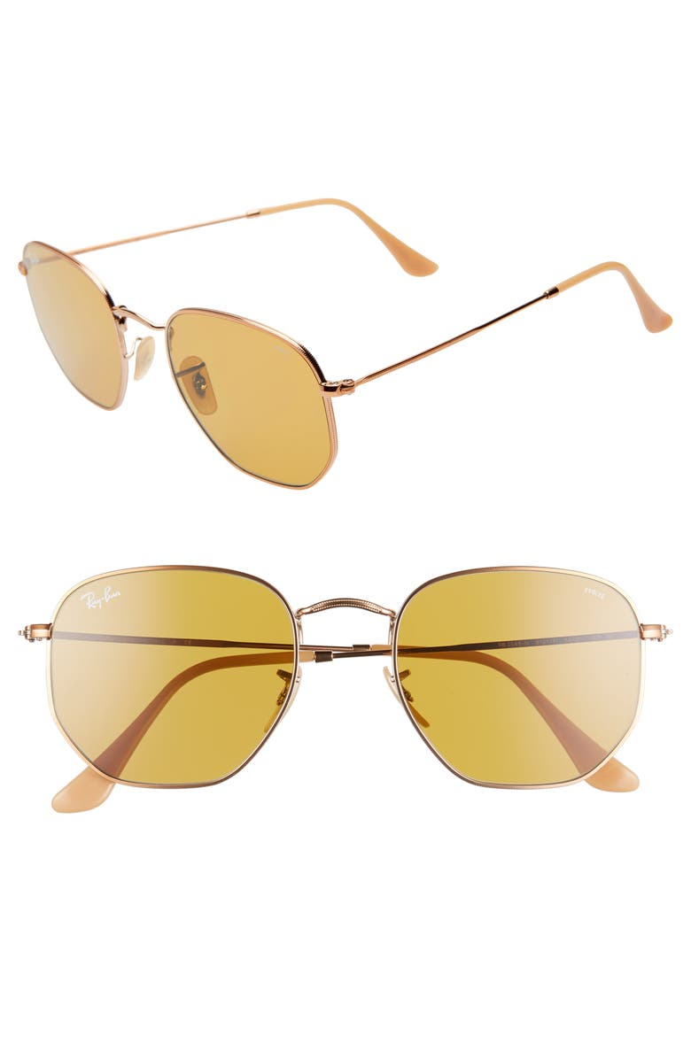 Ray Ban 54MM EVOLVE PHOTOCHROMIC HEXAGON SUNGLASSES - GOLD/ COPPER SOLID