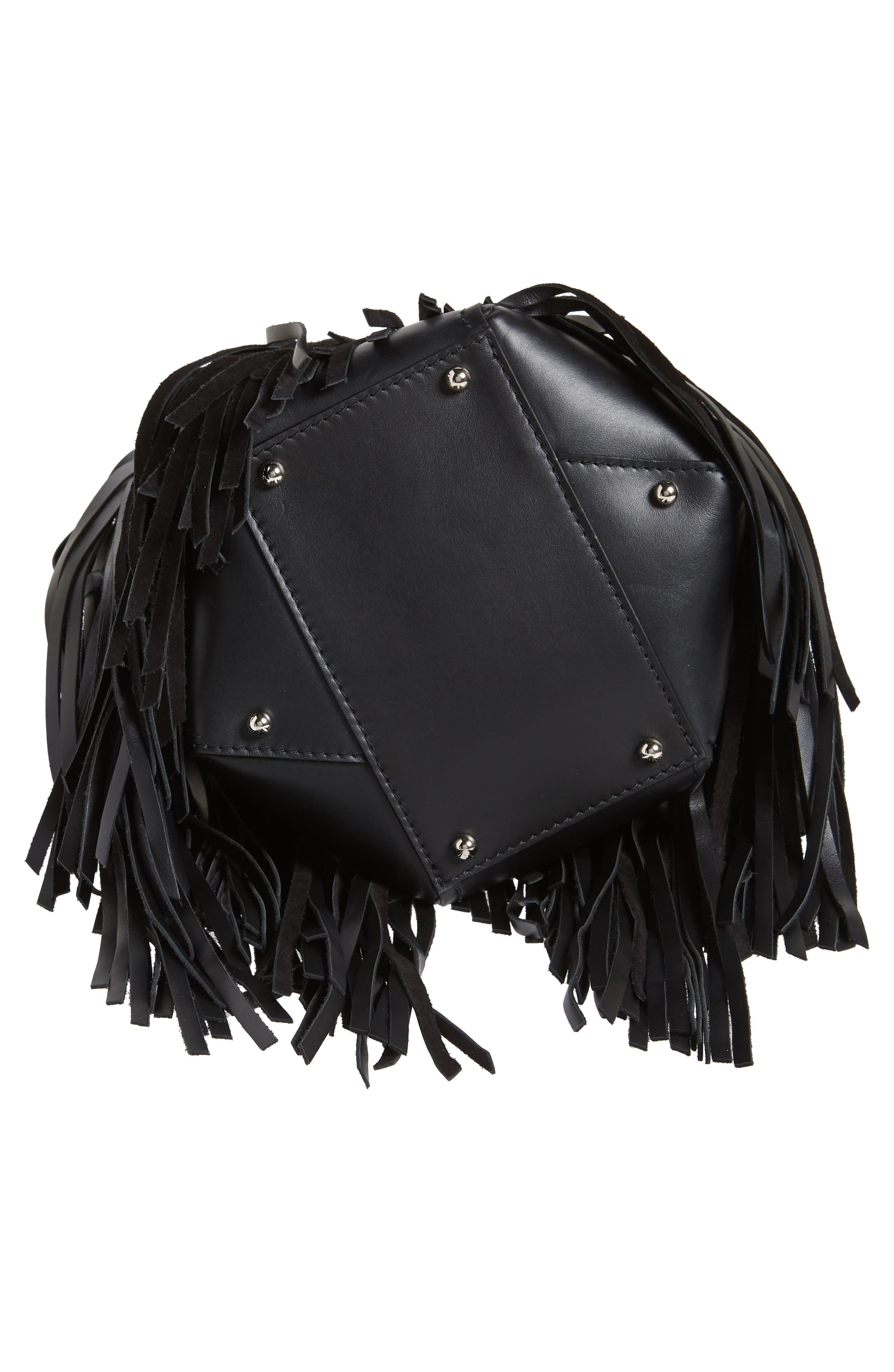 PROENZA SCHOULER, Medium Hex Fringe Calfskin Leather Bucket Bag, Alternate thumbnail 6, color, BLACK/ BLACK