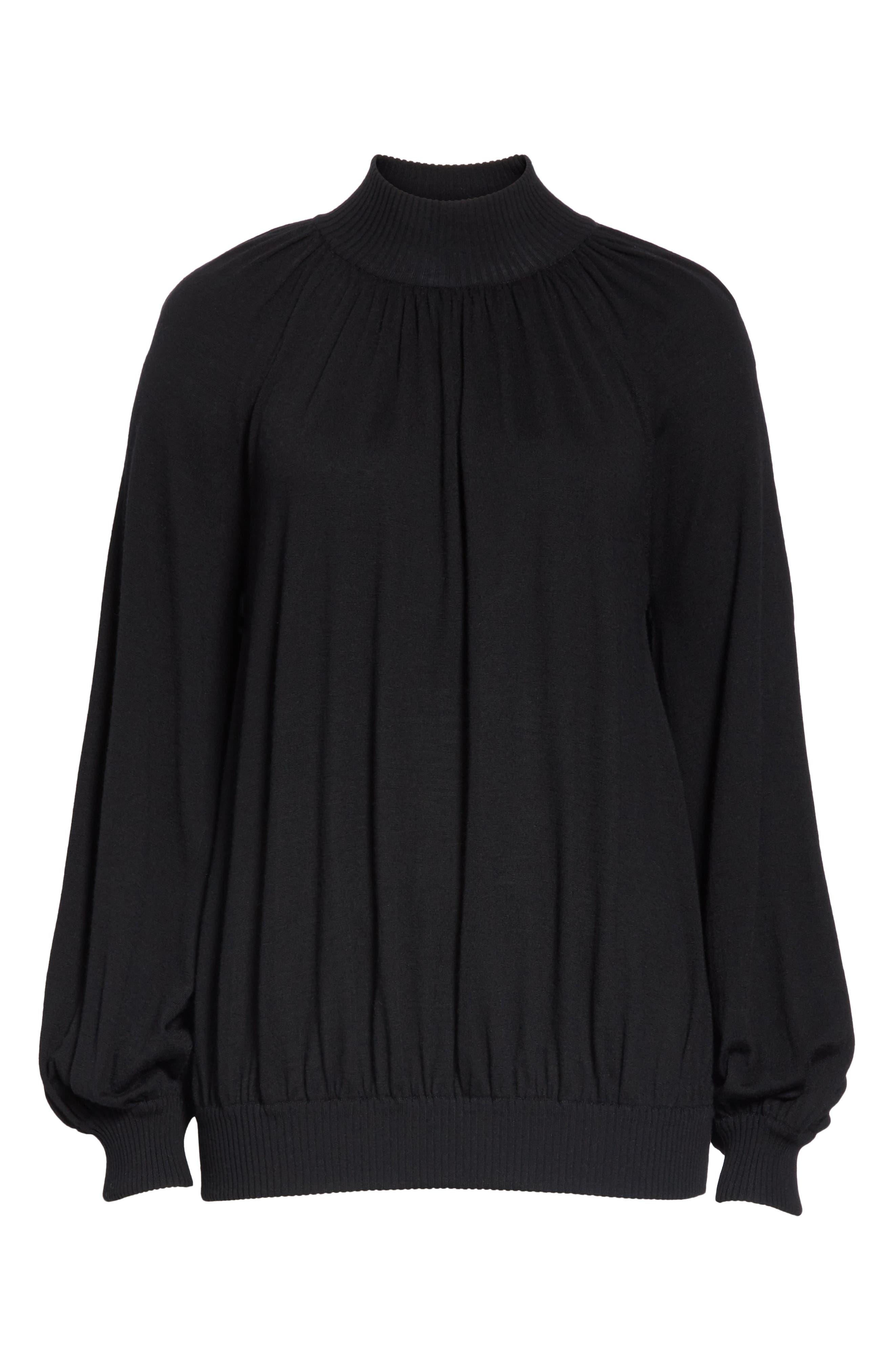 CO, Cashmere High Neck Blouson Sweater, Alternate thumbnail 6, color, BLACK
