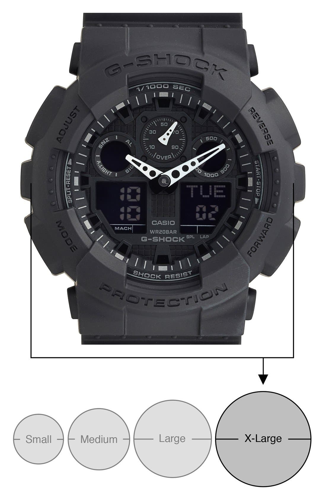 G-SHOCK BABY-G, G-Shock 'Big Combi' Watch, 55mm x 51mm, Alternate thumbnail 2, color, BLACK/ BLACK