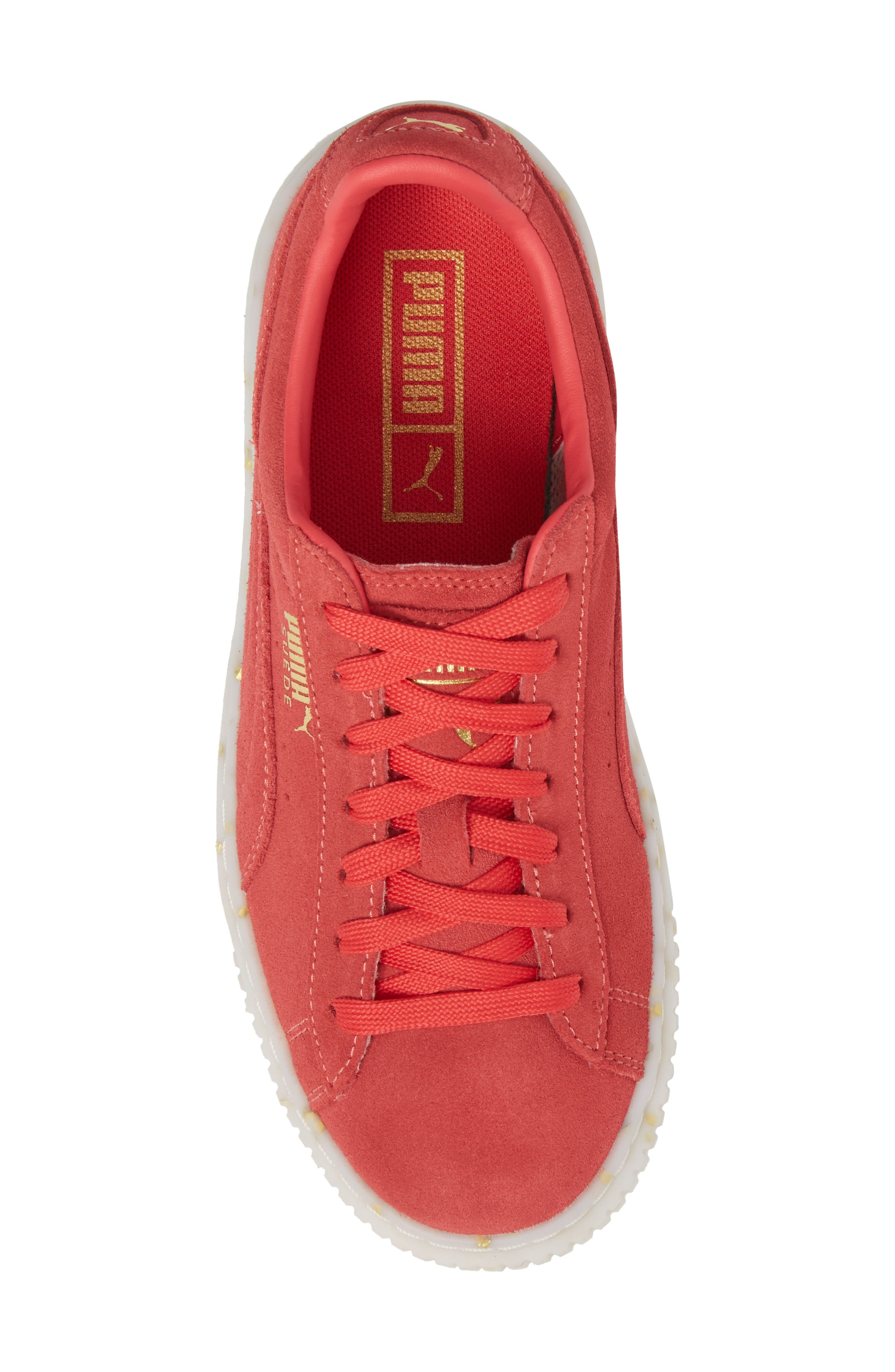PUMA, Suede Platform Sneaker, Alternate thumbnail 5, color, PARADISE PINK/ TEAM GOLD
