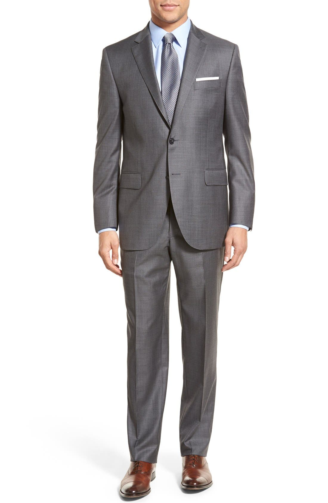 PETER MILLAR, Classic Fit Solid Wool Suit, Main thumbnail 1, color, CHARCOAL