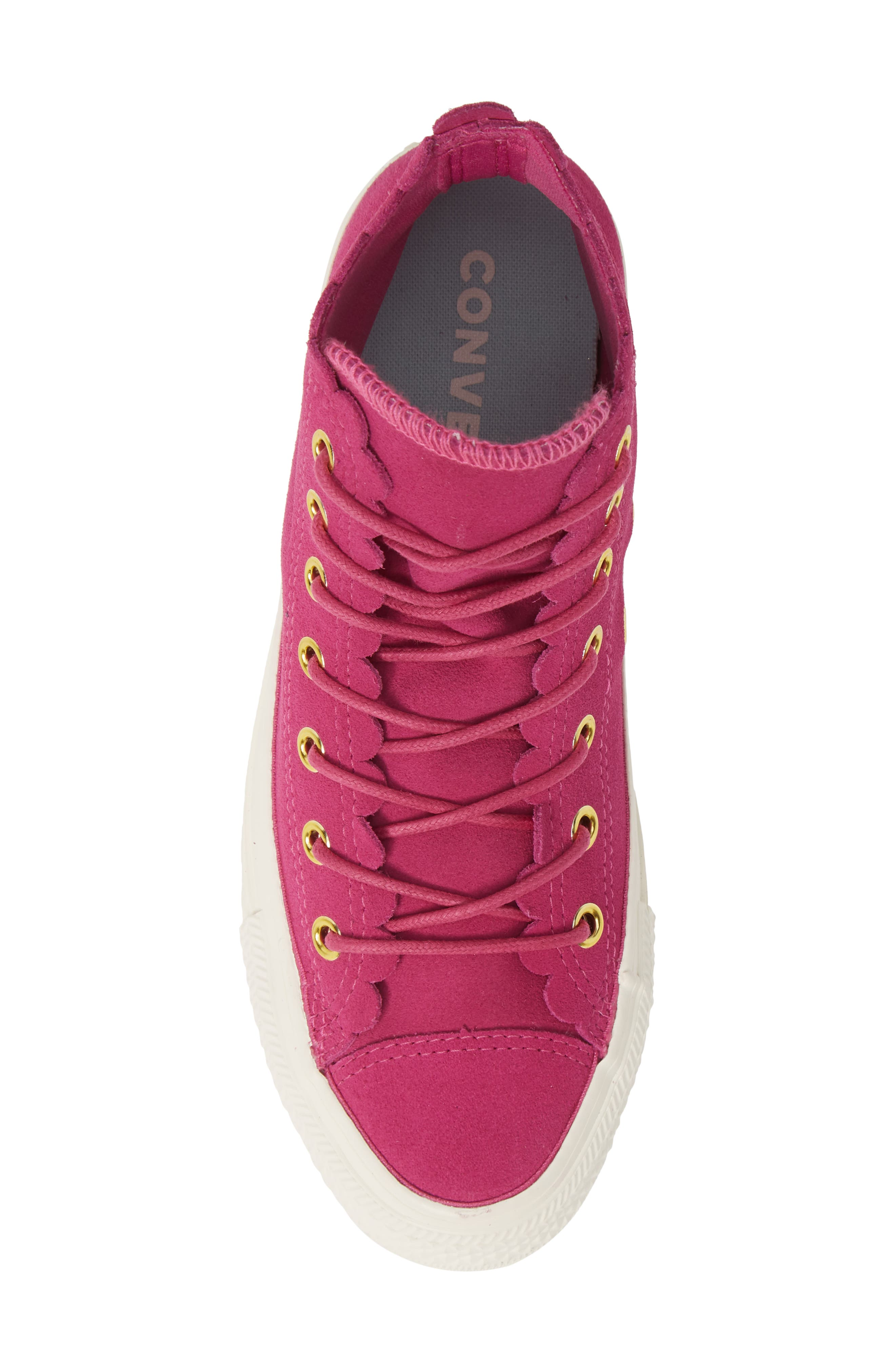 CONVERSE, Chuck Taylor<sup>®</sup> All Star<sup>®</sup> Scallop High Top Suede Sneaker, Alternate thumbnail 5, color, ACTIVE FUCHSIA/ GOLD/ EGRET