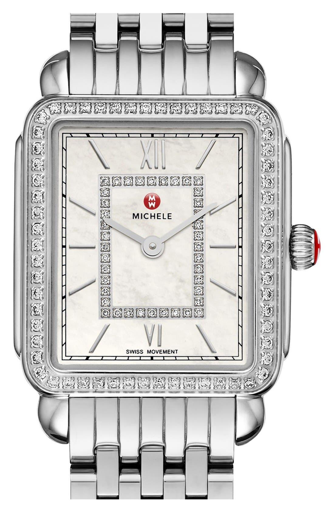 MICHELE, Deco II Diamond Dial Watch Case, 26mm x 28mm, Alternate thumbnail 5, color, SILVER