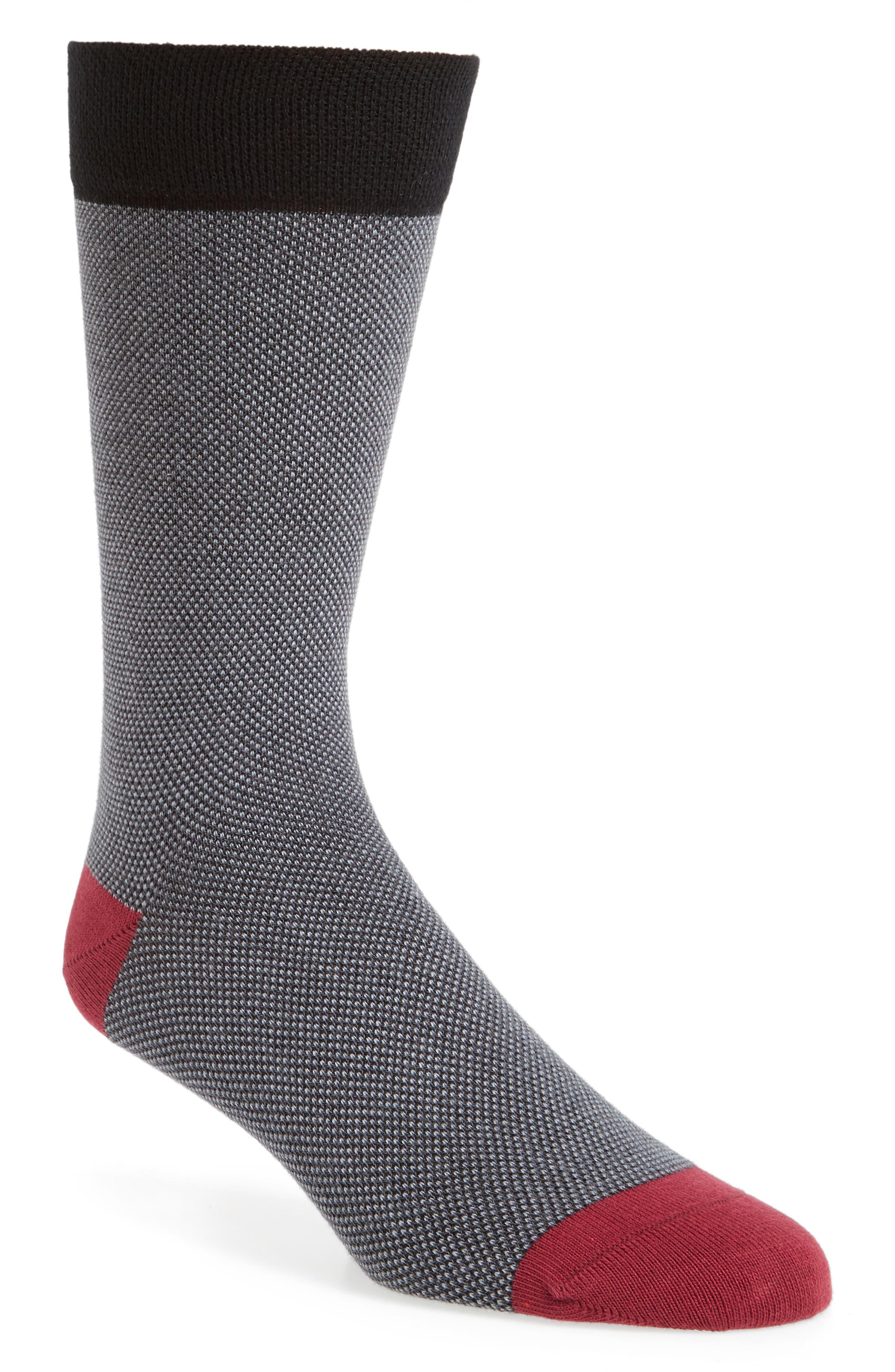 TED BAKER LONDON, Joaquim Solid Socks, Main thumbnail 1, color, BLACK/ CHARCOAL