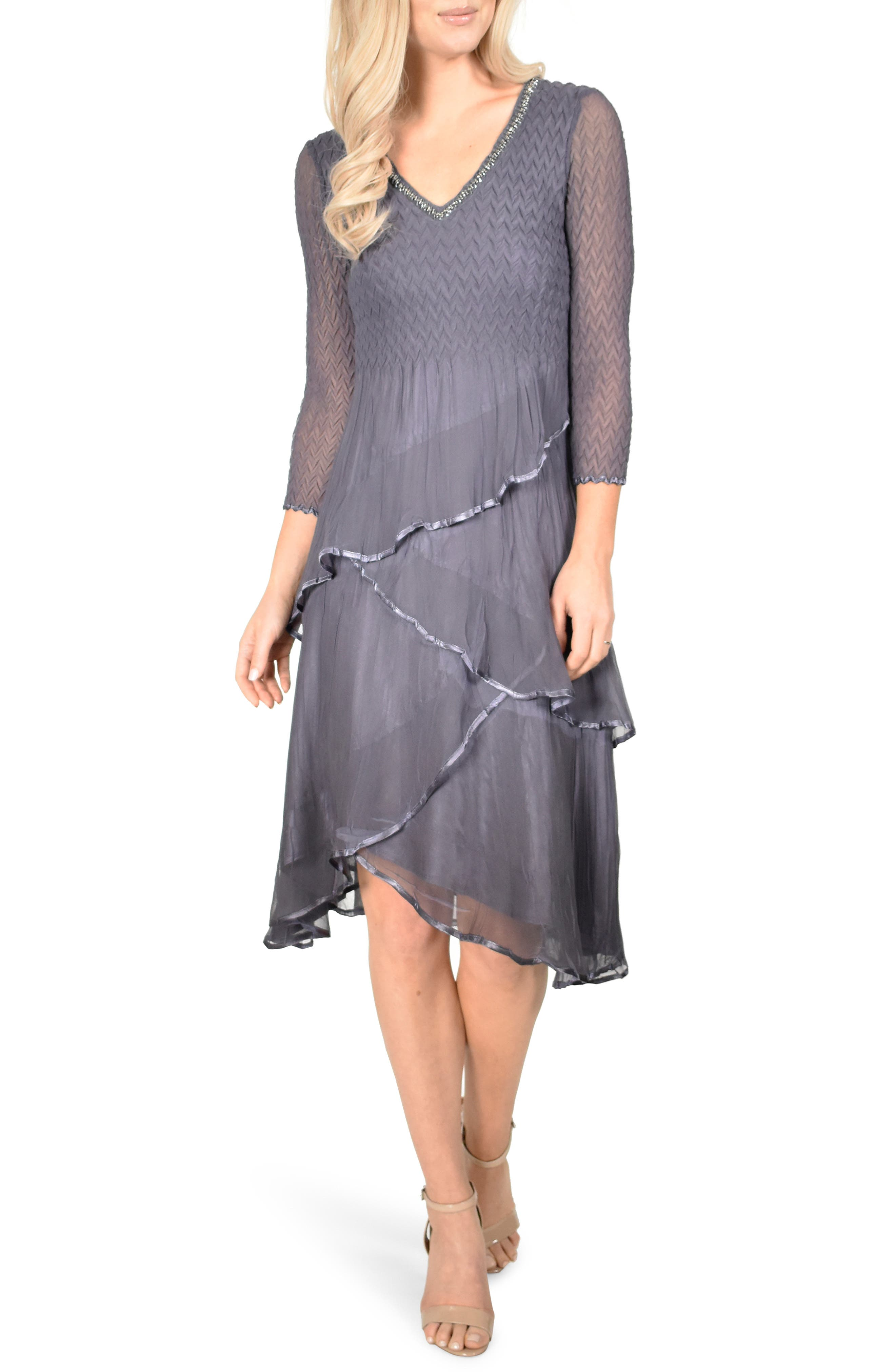 KOMAROV, Tiered Hem Dress, Main thumbnail 1, color, 500