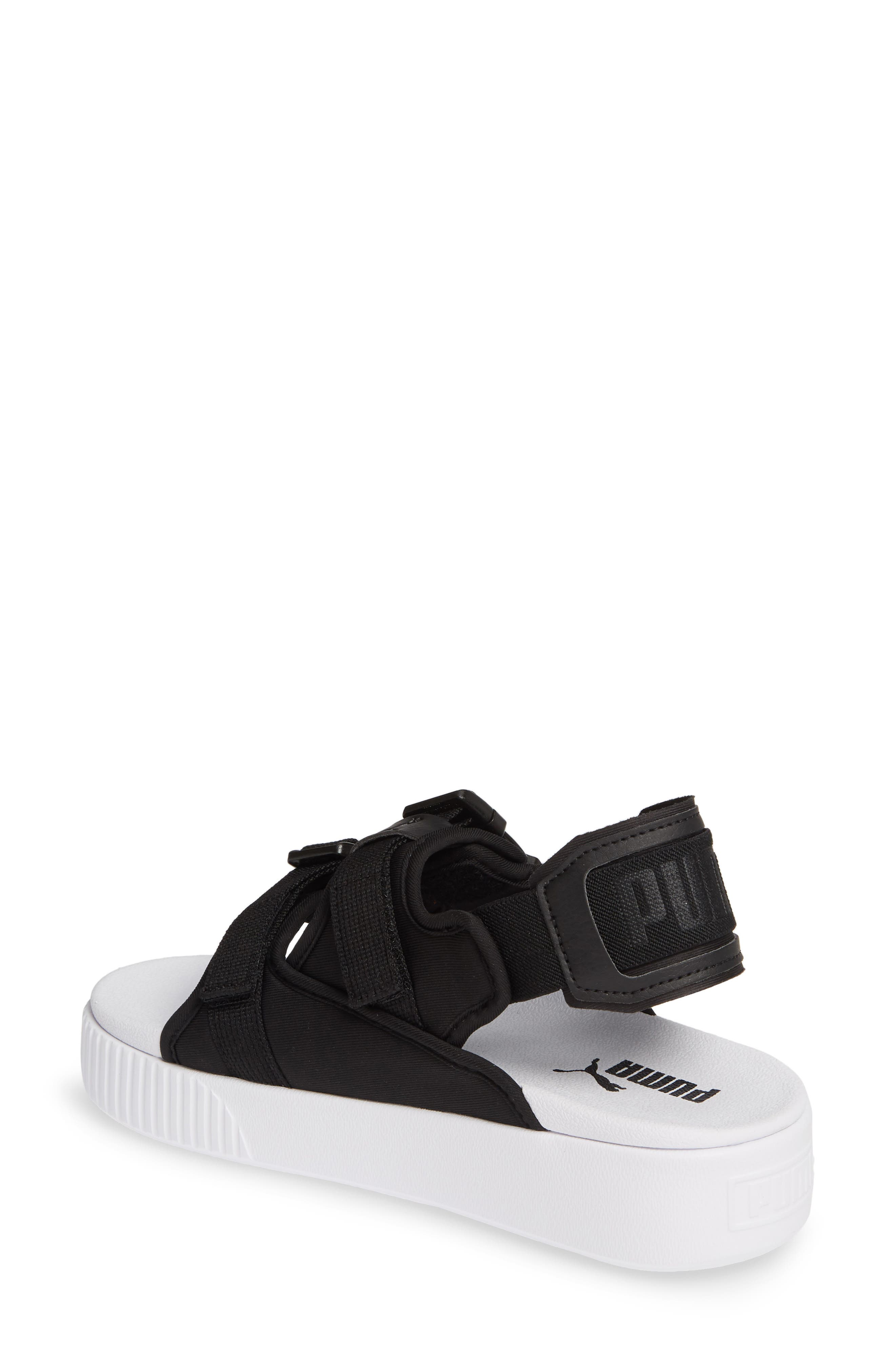 PUMA, Platform Slide YLM 19 Sandal, Alternate thumbnail 2, color, BLACK/ WHITE