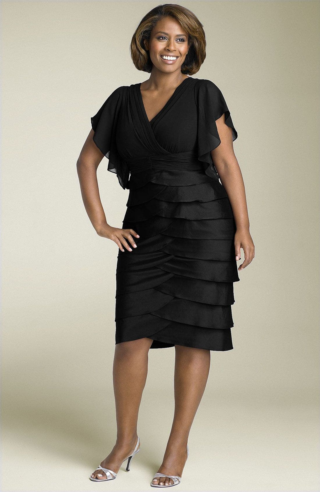 ADRIANNA PAPELL, Flutter Sleeve Tiered Dress, Main thumbnail 1, color, 001