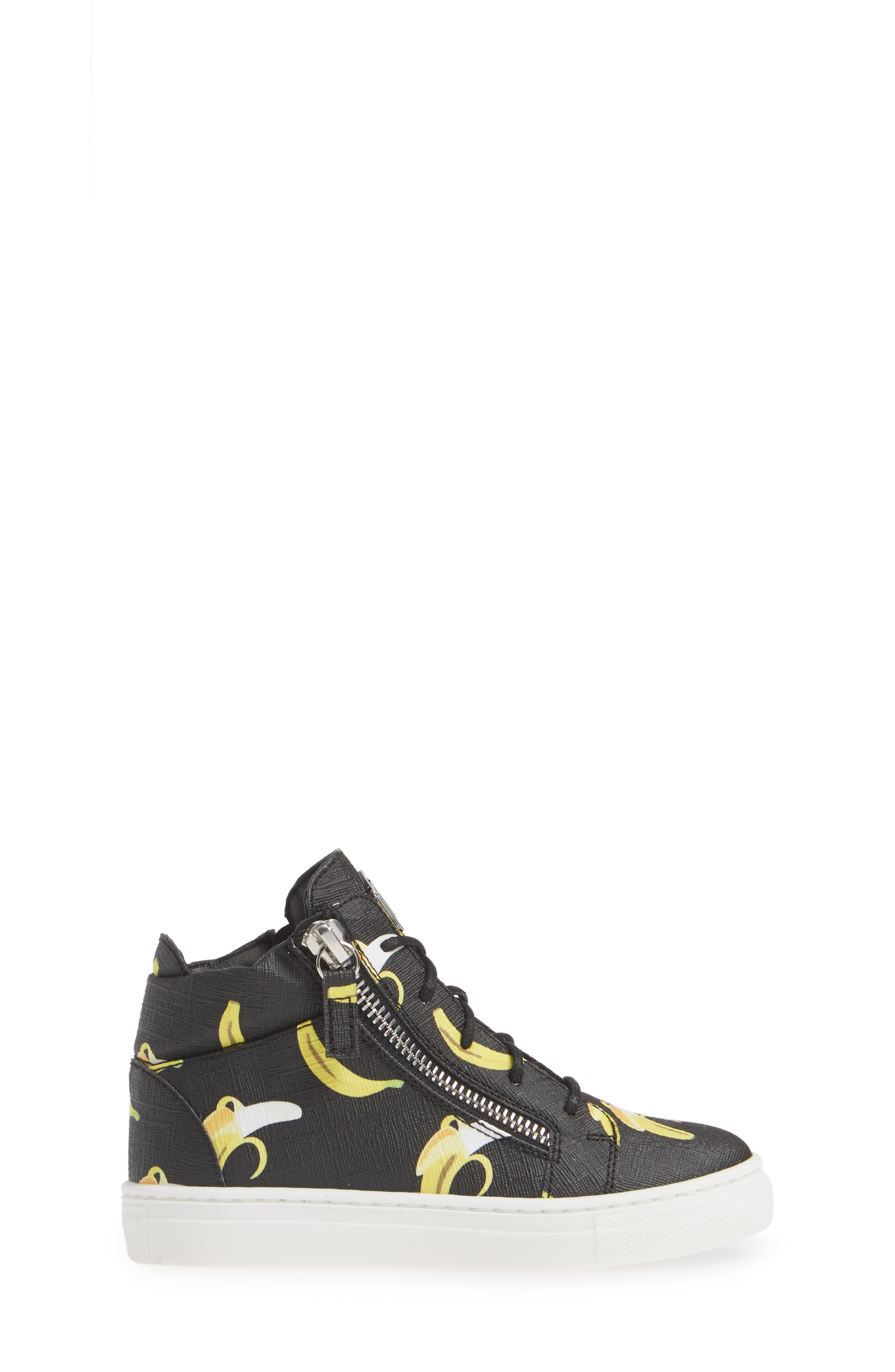 GIUSEPPE ZANOTTI, Kidlondon Banana Print Sneaker, Alternate thumbnail 3, color, BANANAS