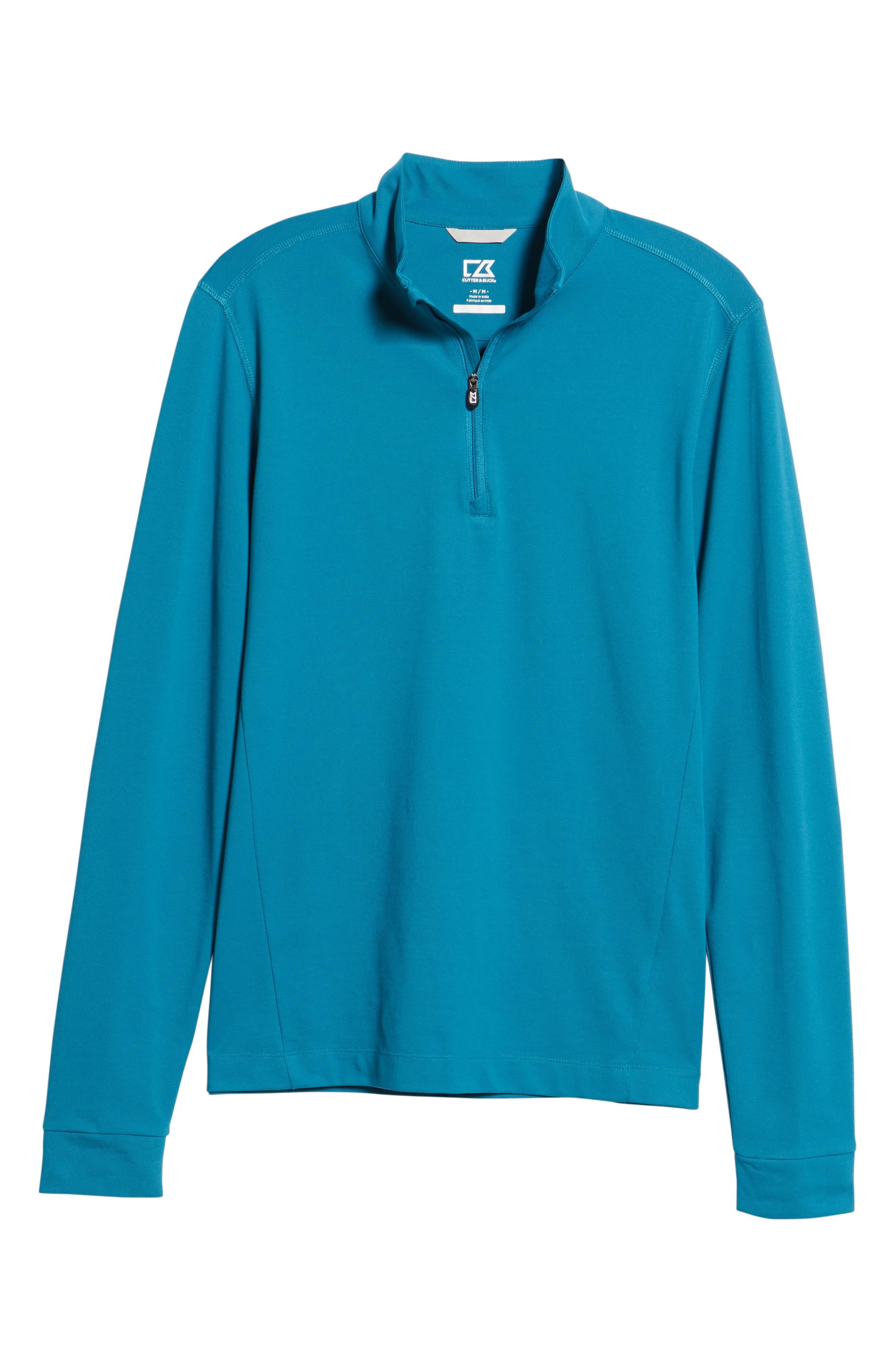 CUTTER & BUCK, Advantage Regular Fit DryTec Mock Neck Pullover, Alternate thumbnail 6, color, TEAL BLUE