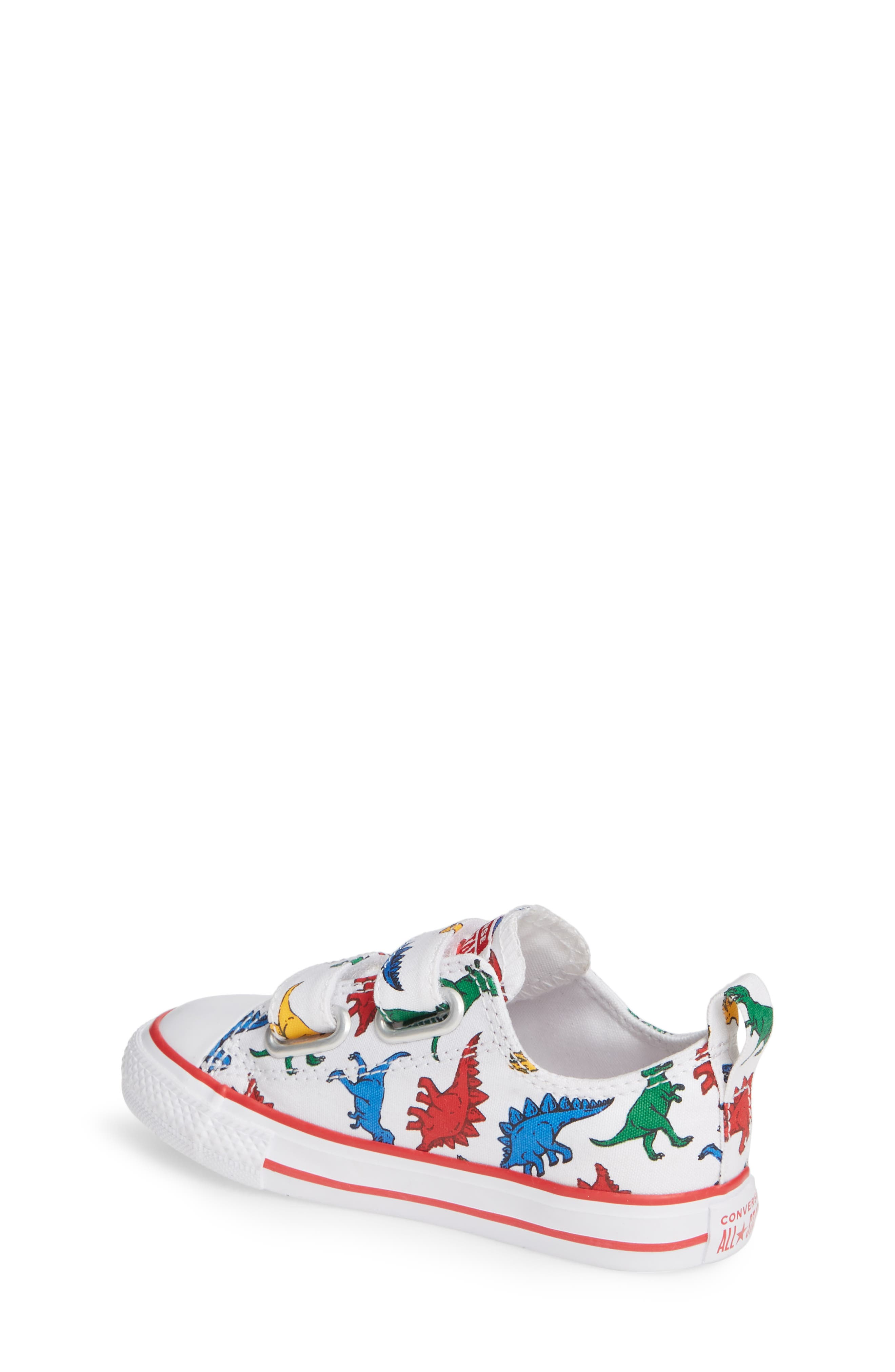 CONVERSE, Chuck Taylor<sup>®</sup> All Star<sup>®</sup> Ox Sneaker, Alternate thumbnail 2, color, WHITE/ ENAMEL RED/ BLUE DINO