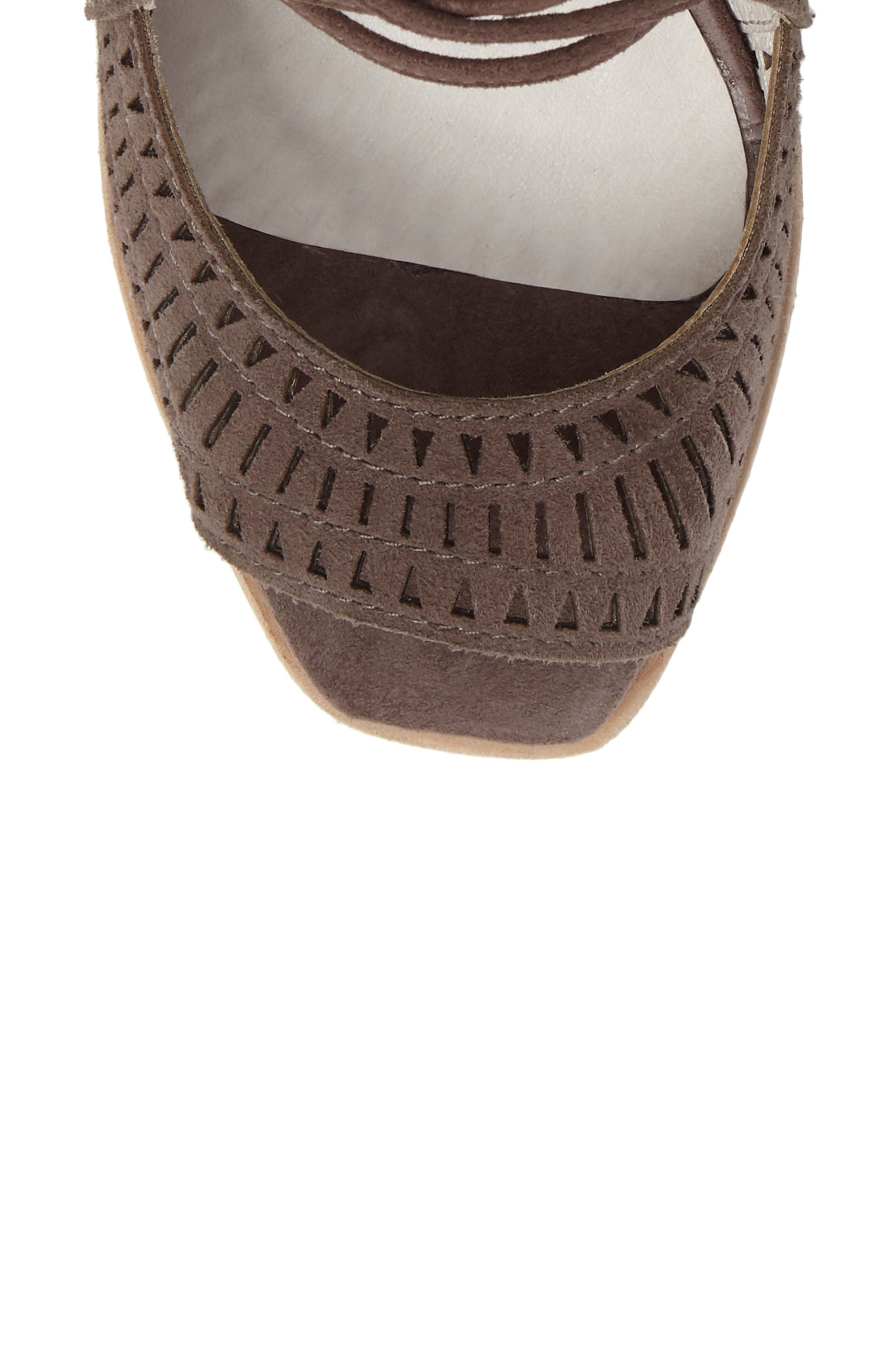 JEFFREY CAMPBELL, Rayos Perforated Wedge Sandal, Alternate thumbnail 5, color, 200