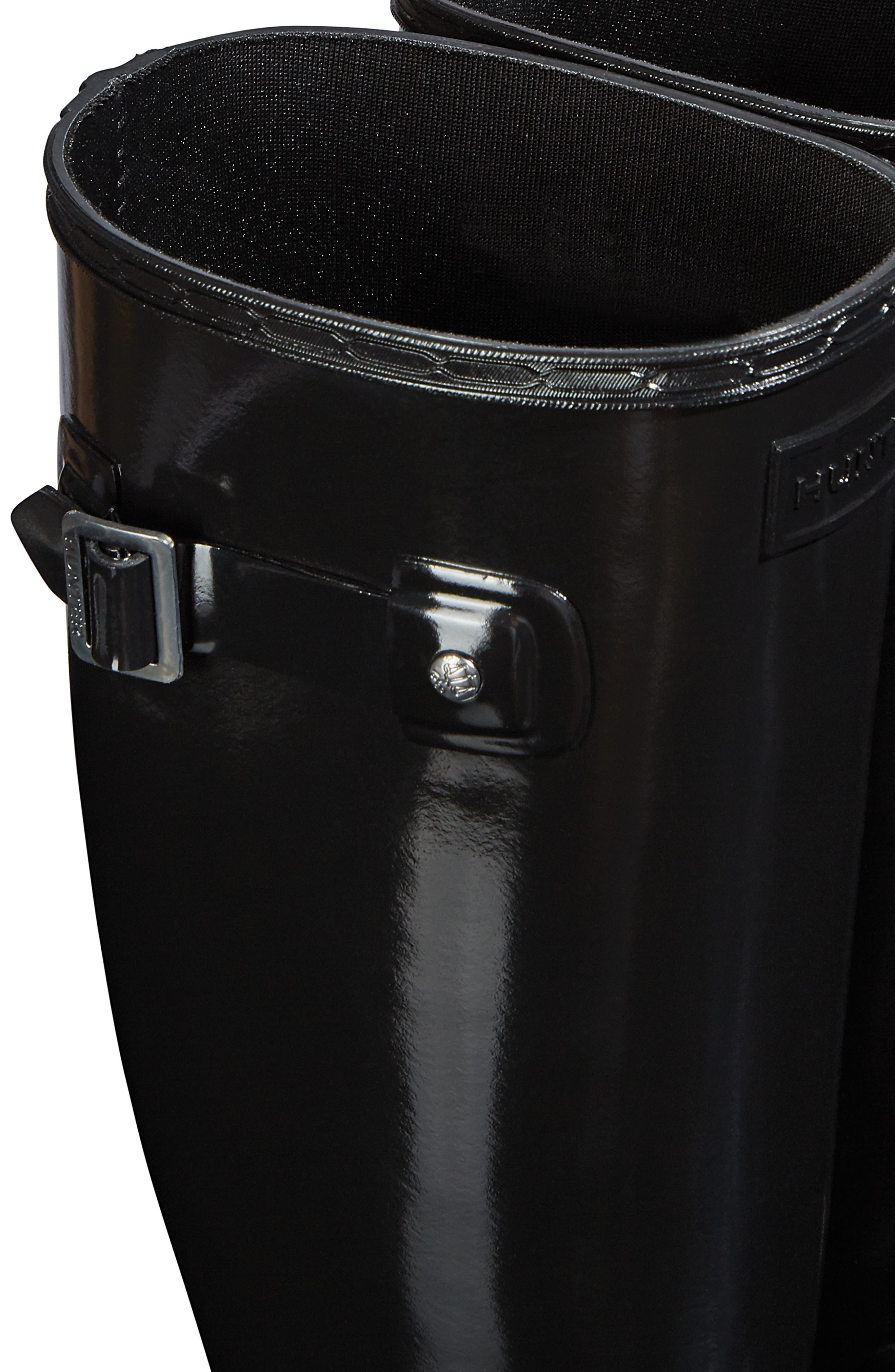 HUNTER, Original Refined Gloss Tall Waterproof Rain Boot, Alternate thumbnail 5, color, BLACK