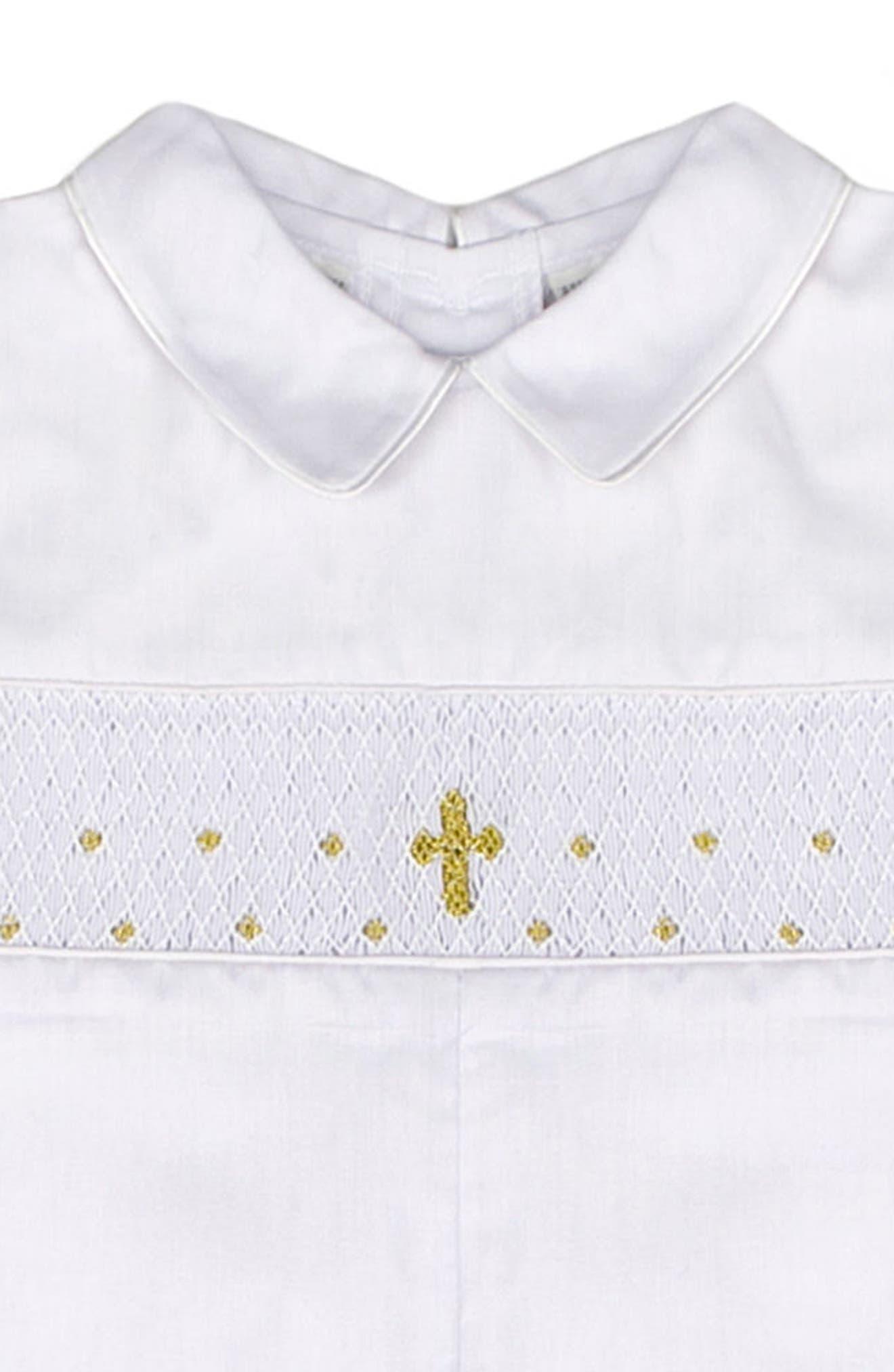 CARRIAGE BOUTIQUE Christening Romper & Bonnet Set, Main, color, WHITE