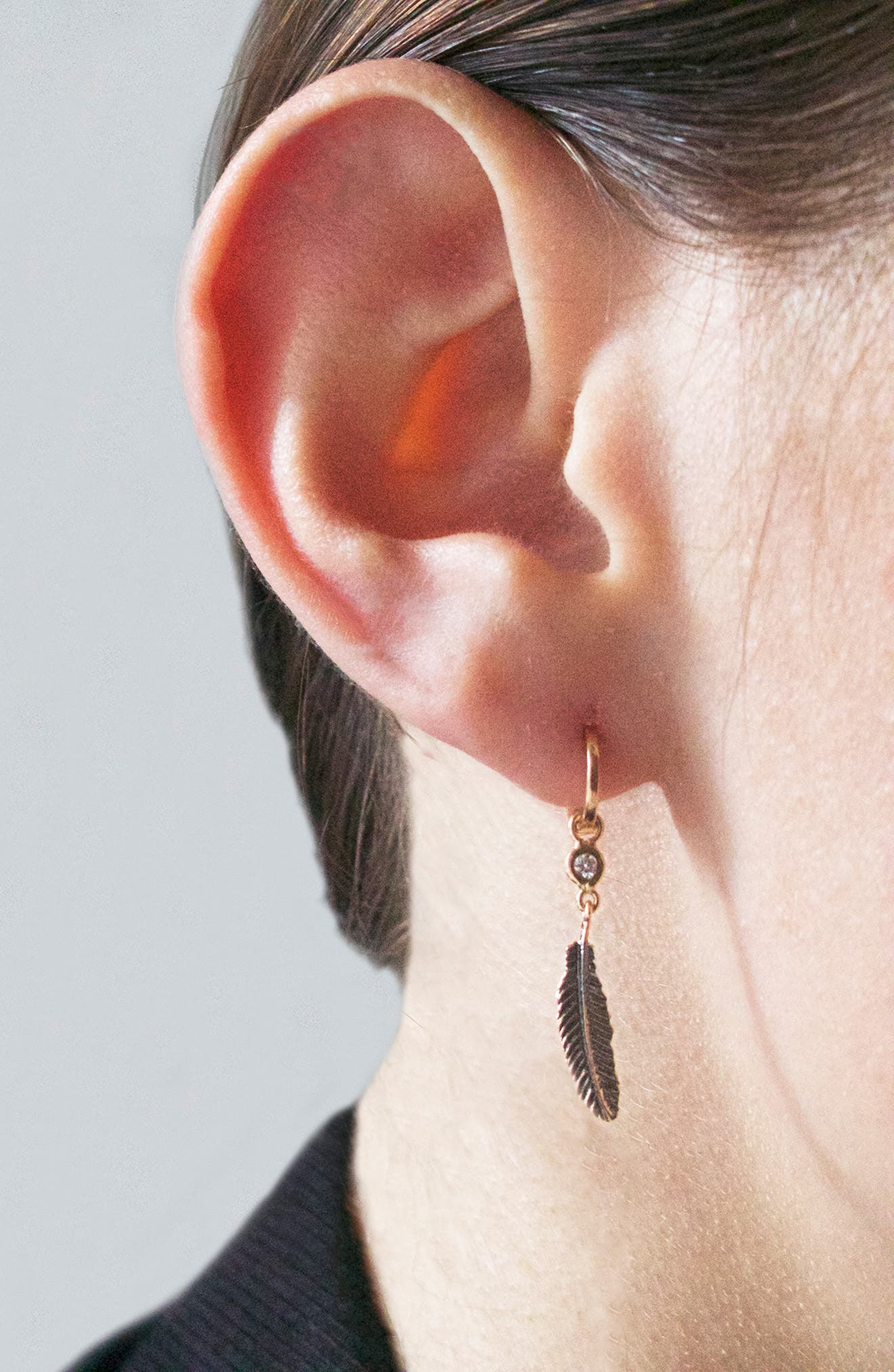 KISMET BY MILKA, Single Feather Earring, Alternate thumbnail 3, color, ROSE GOLD/ DIAMOND