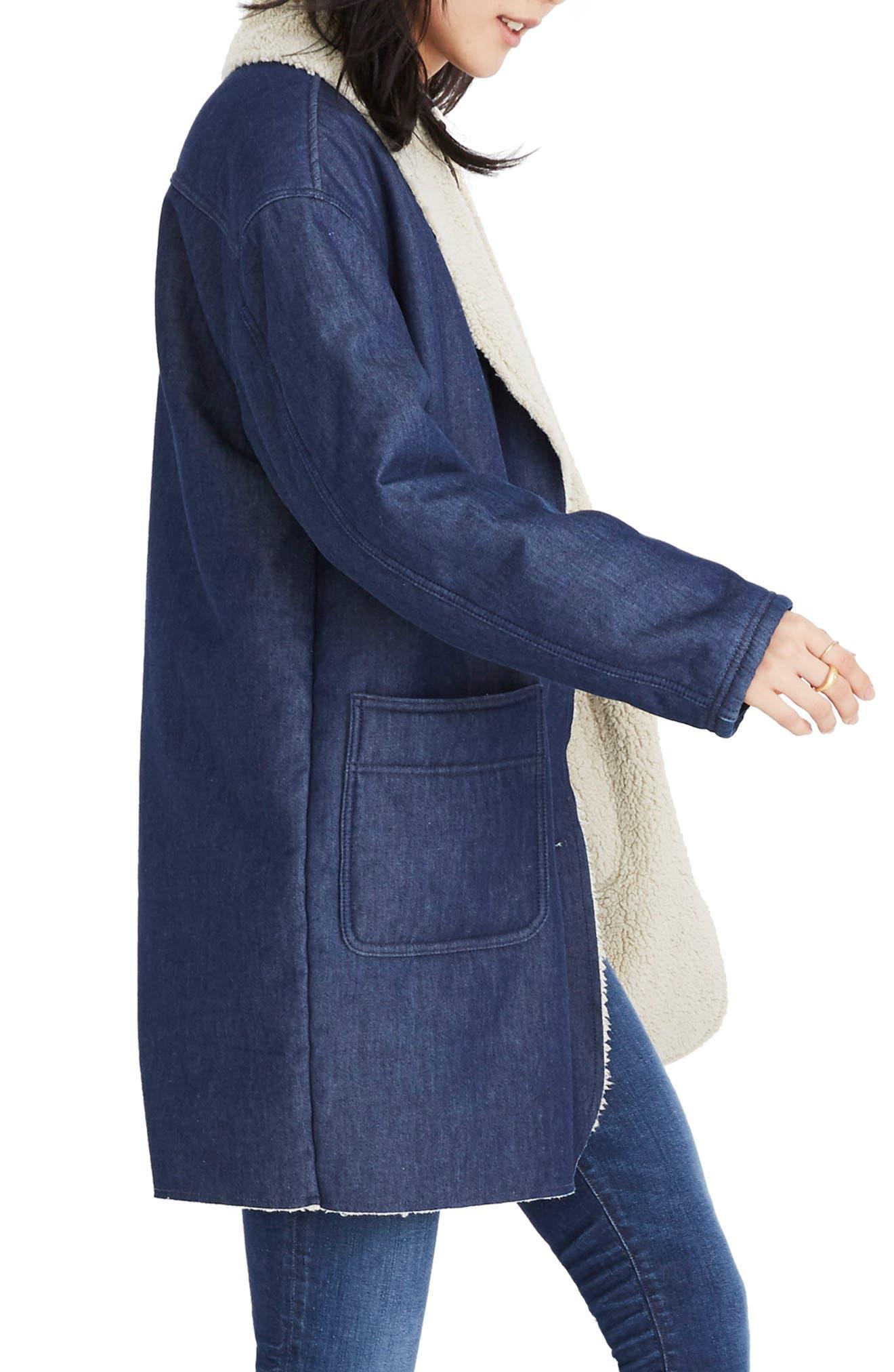 MADEWELL, Fleece Trim Denim Cocoon Coat, Alternate thumbnail 4, color, BRUNSWICK WASH