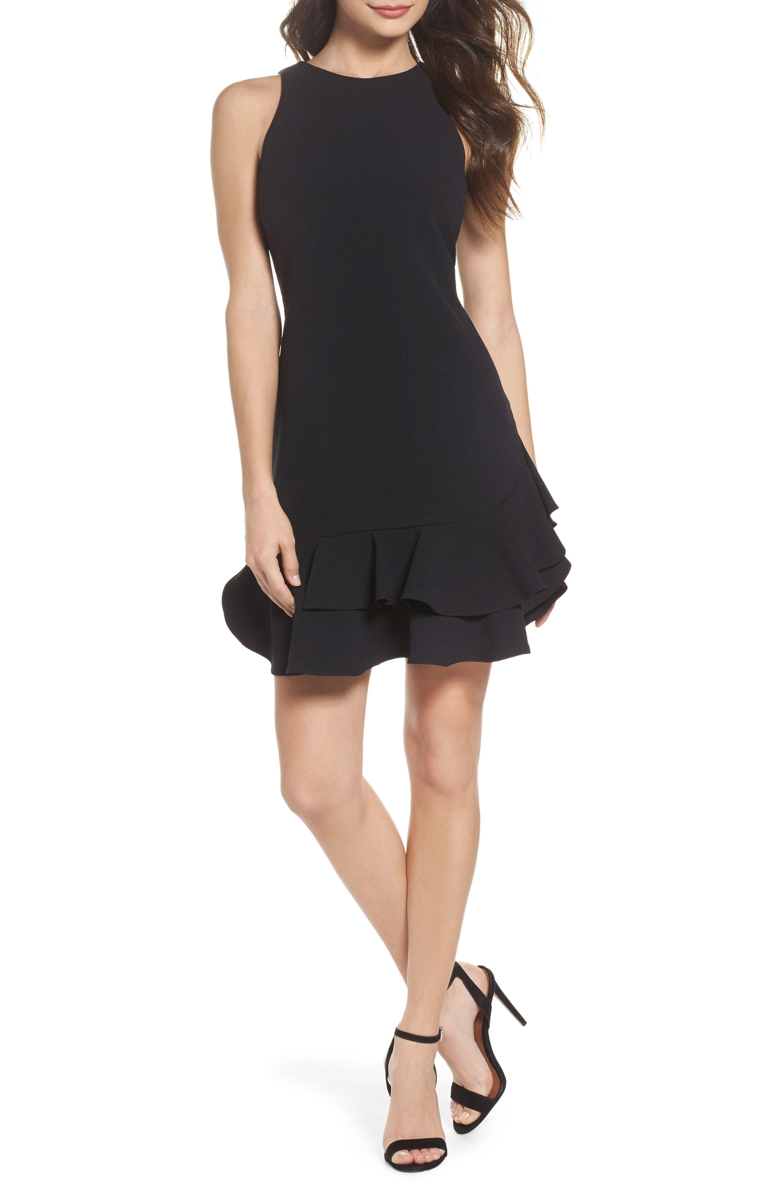 CHELSEA28, Tiered Ruffle Hem Mini Dress, Main thumbnail 1, color, 001