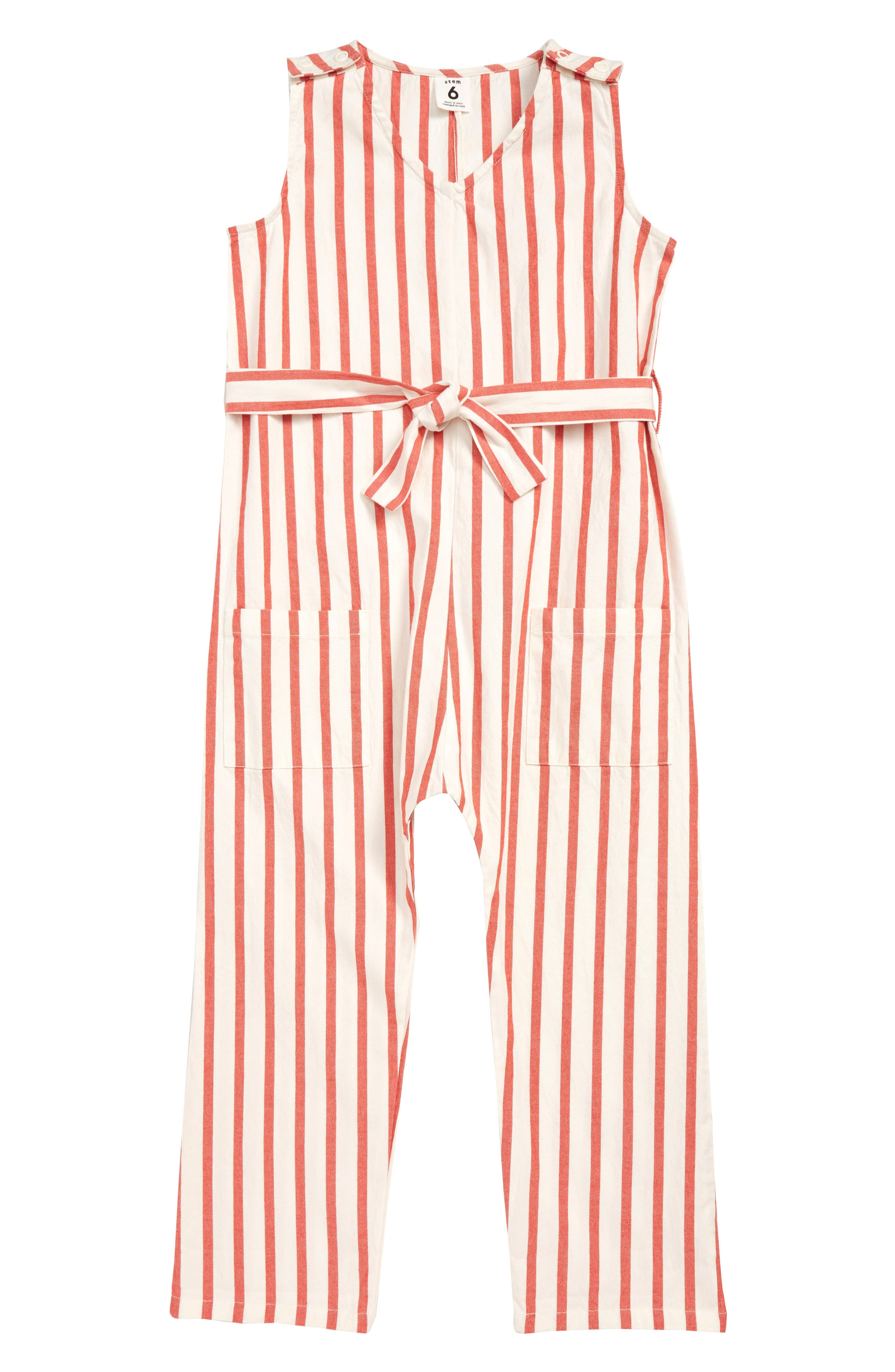 STEM, Stripe Jumpsuit, Main thumbnail 1, color, WHITE- RED STRIPE